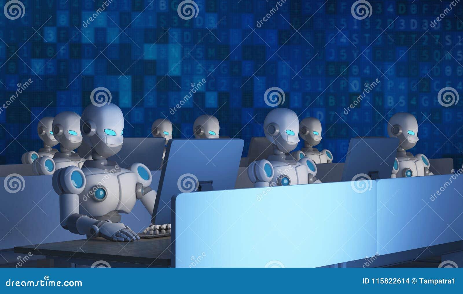 Grupo de robôs usando computadores com código de dados artificial
