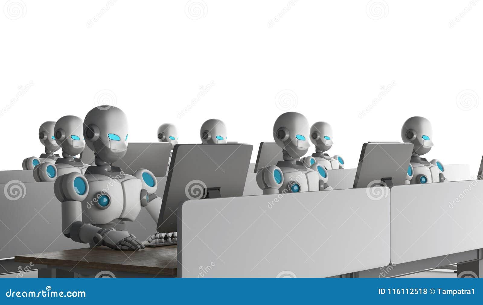 Grupo de robôs usando computadores no fundo branco artificial
