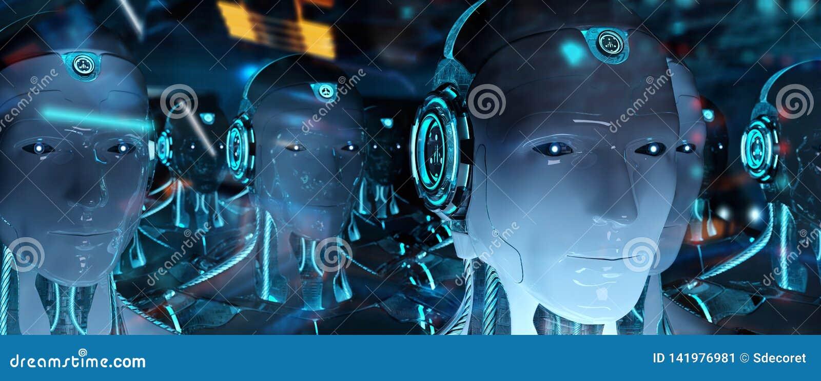 Grupo de robots masculinos que siguen la representación del ejército 3d del cyborg del líder