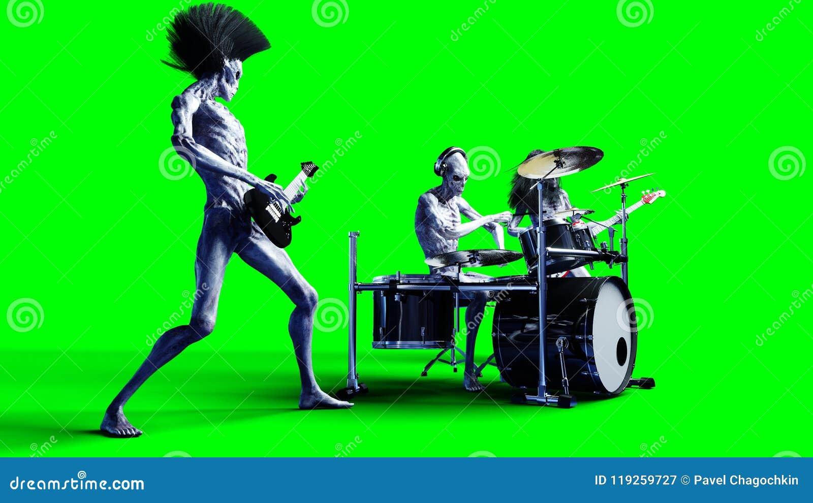 Grupo de rock estrangeiro engraçado Baixo, cilindro, guitarra Shaders realísticos do movimento e da pele rendição 3d