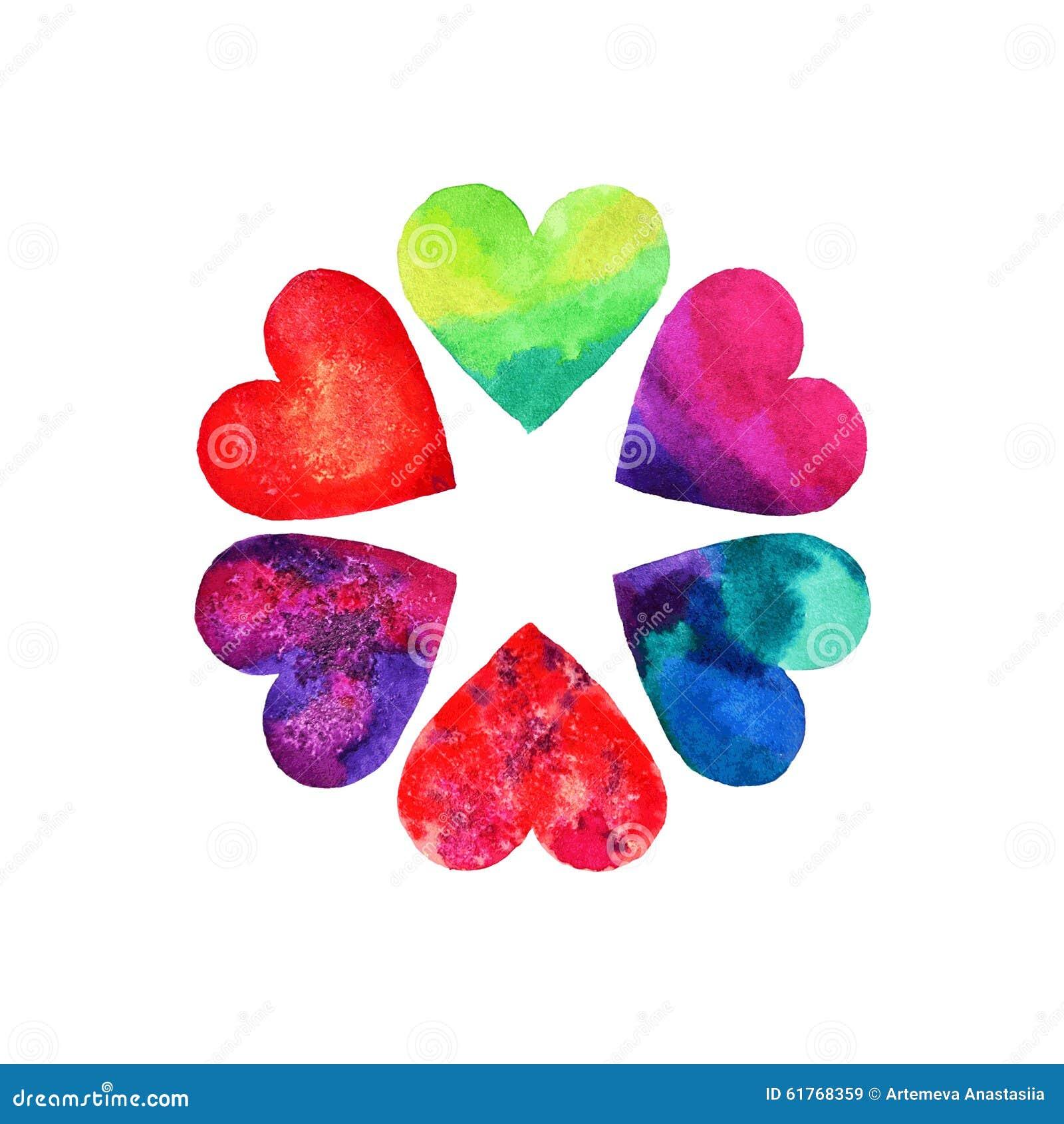 Grupo de seis corações bonitos no dia do ` s do Valentim do St