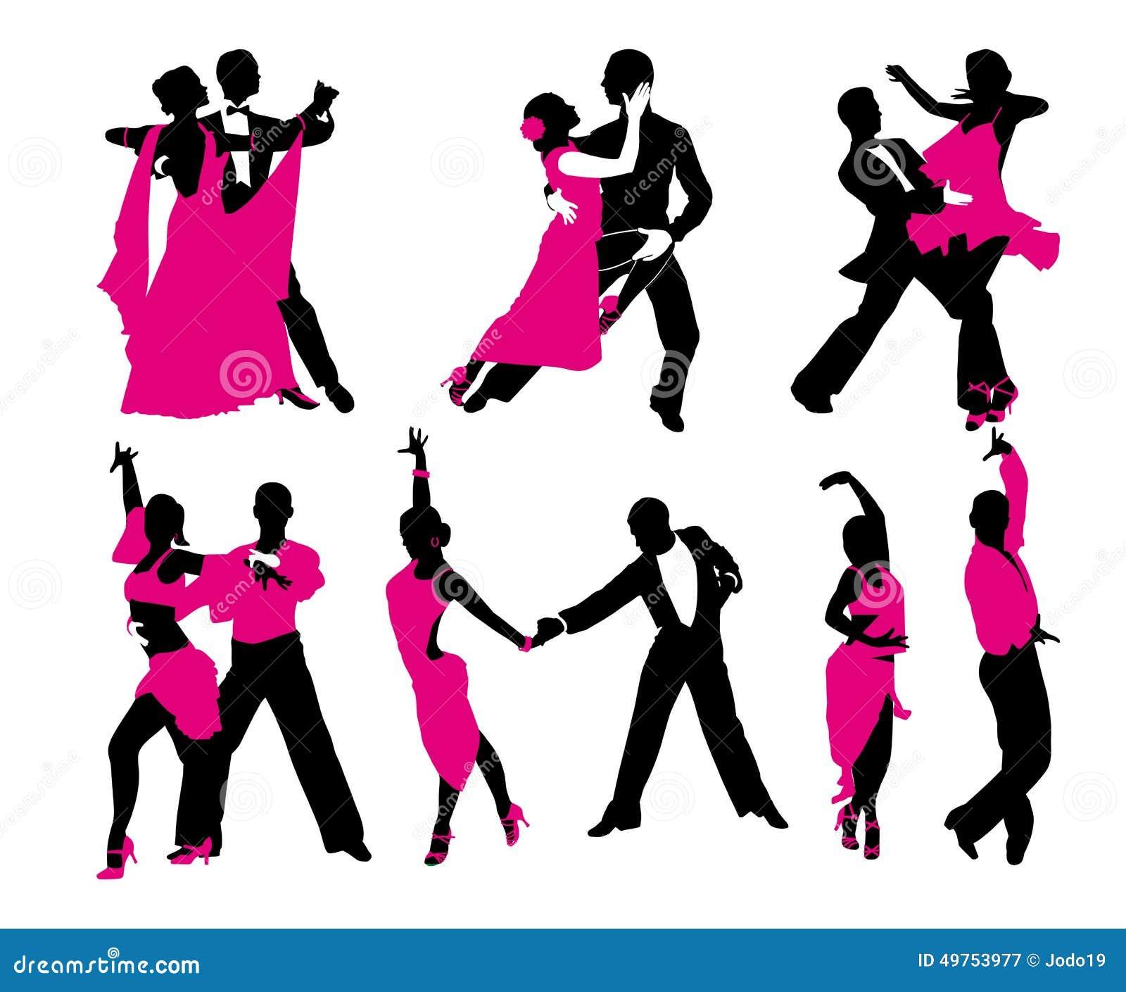 Grupo de seis pares de dança
