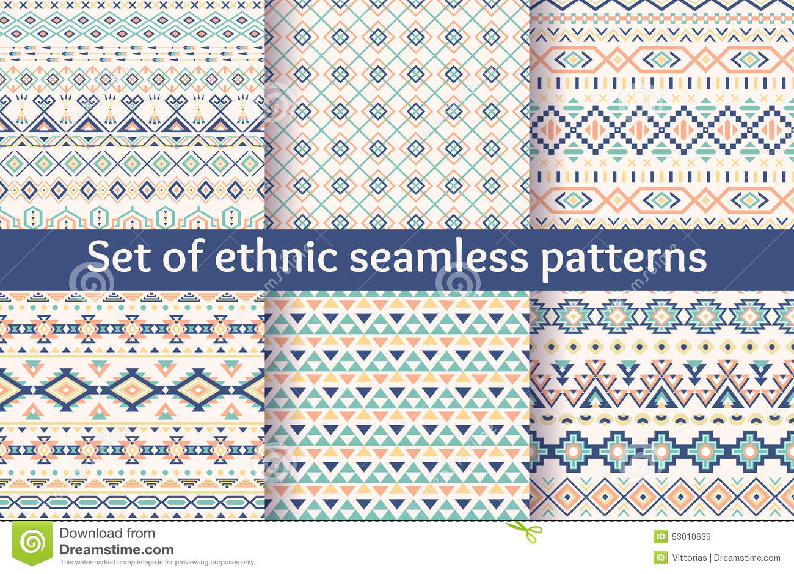 Grupo de seis testes padrões sem emenda étnicos