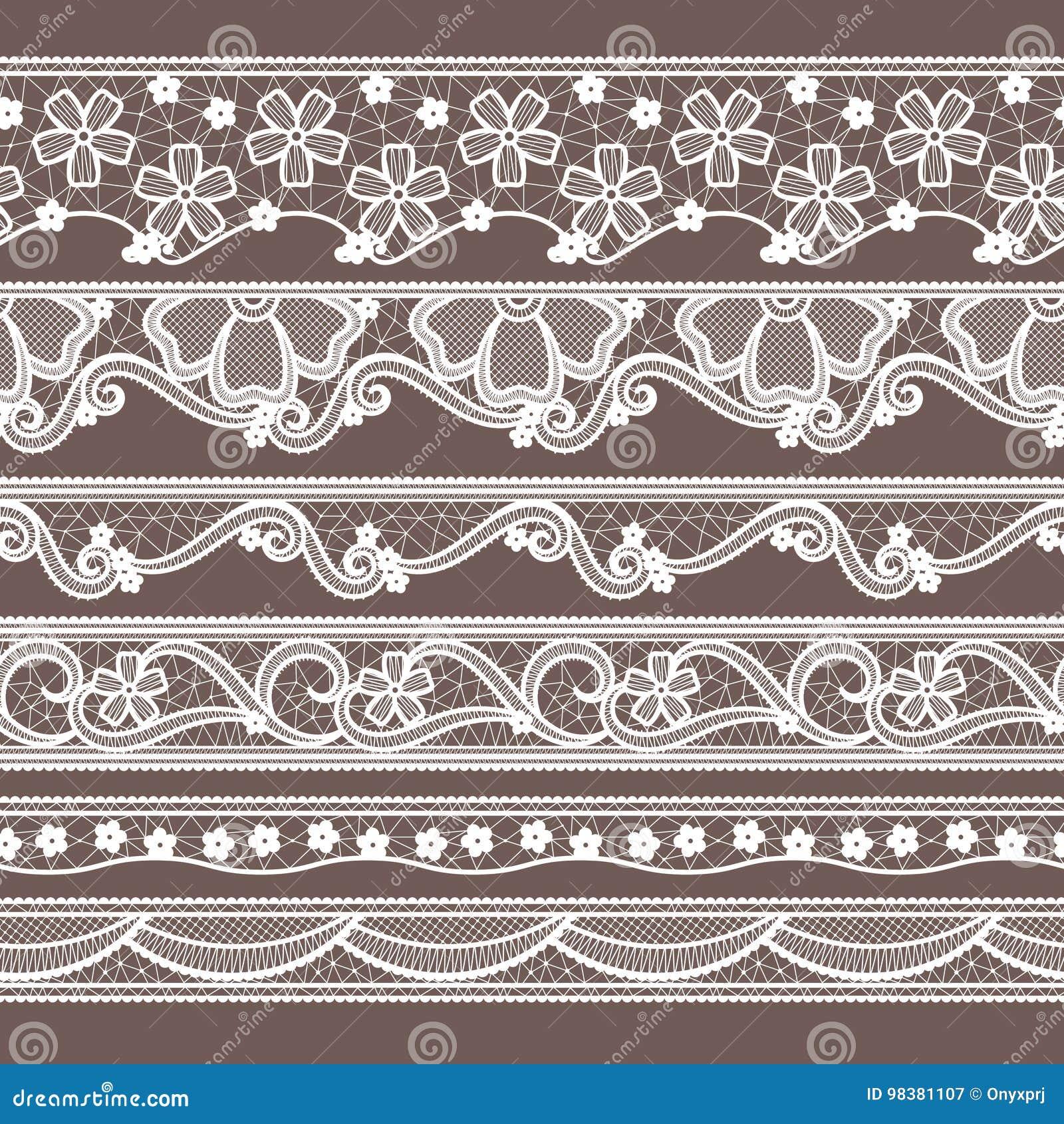 Grupo de seis testes padrões sem emenda horizontais das fitas do laço Ilustrações do bordado do vetor