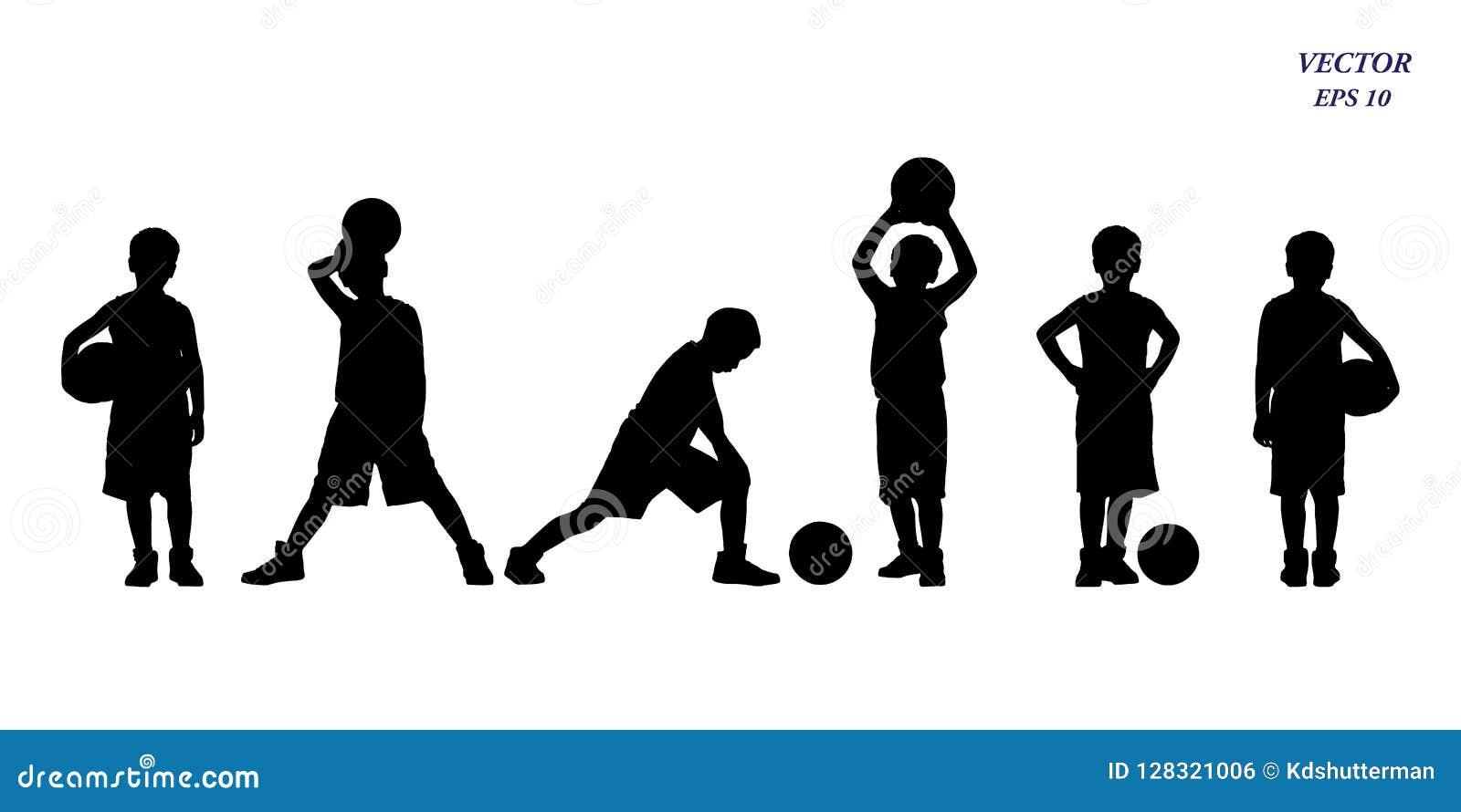 Grupo de silhueta dos jogadores de basquetebol das crianças Isolado no branco