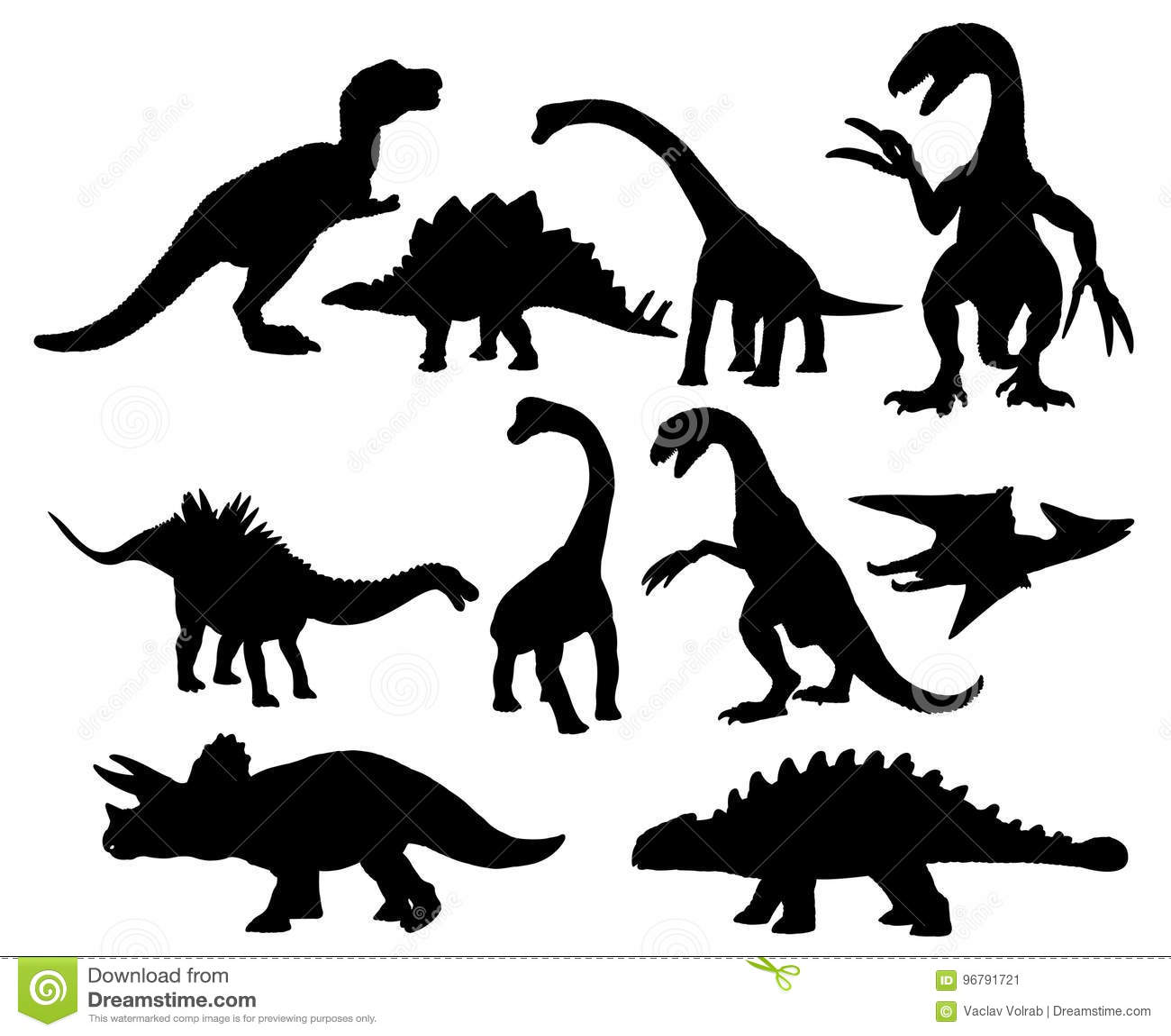 Grupo de silhuetas dos dinossauros