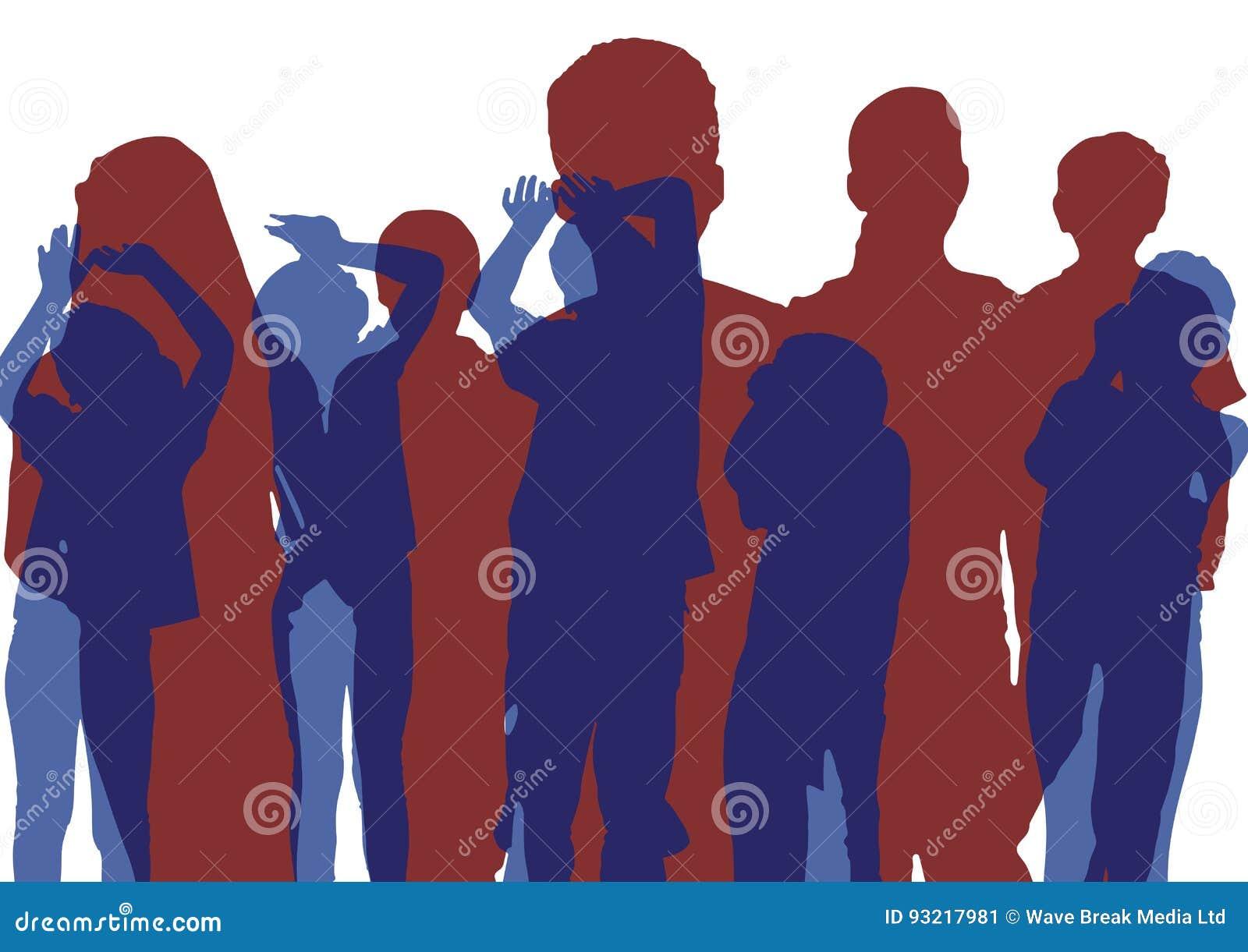 Grupo de siluetas de los niños Baile azul y presentación roja traslapo