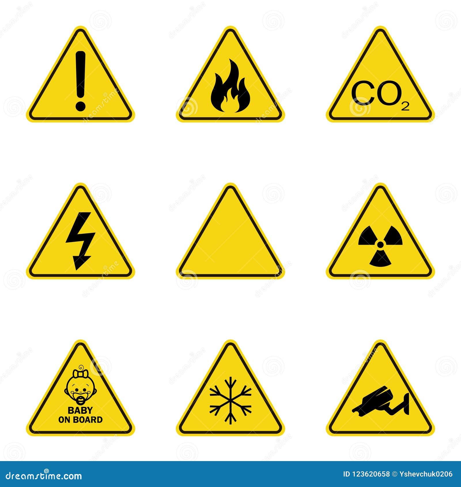 Grupo de sinais de aviso do triângulo Ícone de advertência do roadsign sinal da Perigo-aviso-atenção Fundo amarelo