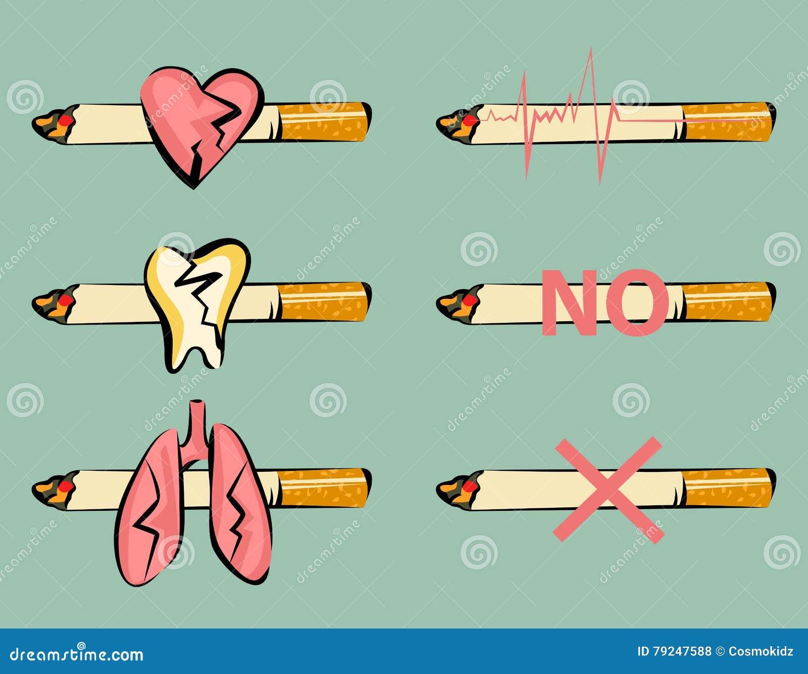 Grupo de sinais de fumo do dano Coração, dente e pulmões danificados Cigarro e ícone do pulso Estilo retro dos desenhos animados