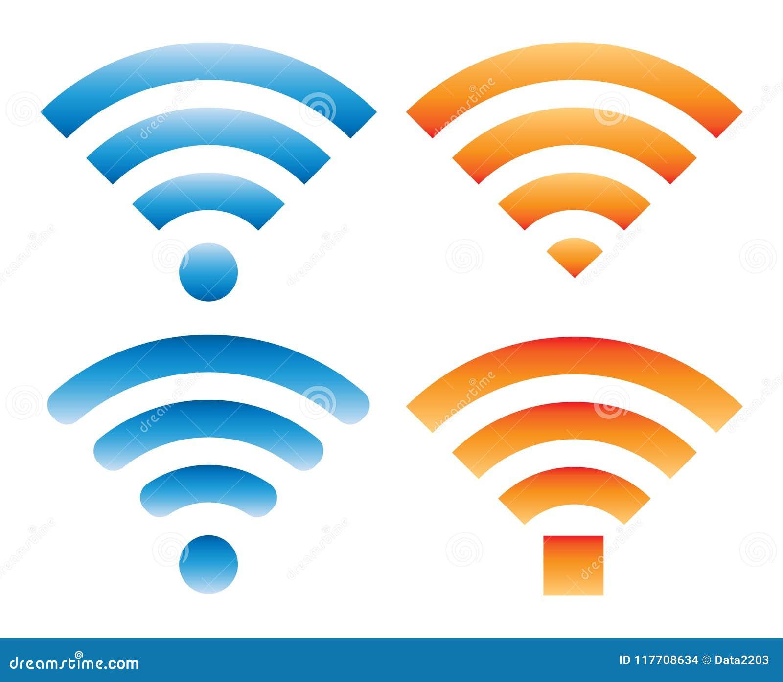 Grupo de sinais diferentes com sinal do wifi