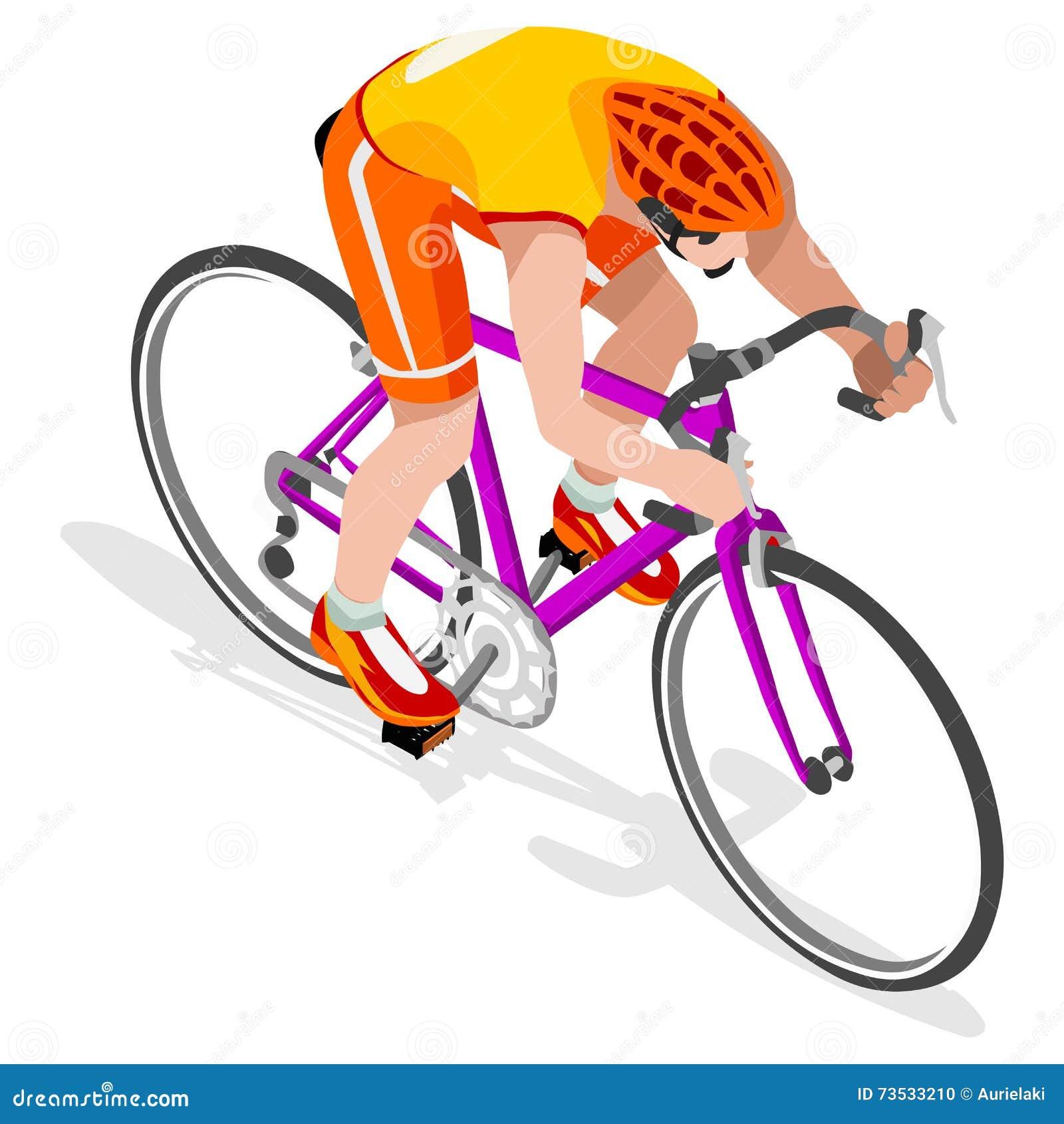 Grupo de Summer Games Icon do atleta do ciclista do ciclista da estrada Conceito da velocidade do ciclismo da estrada atleta 3D i