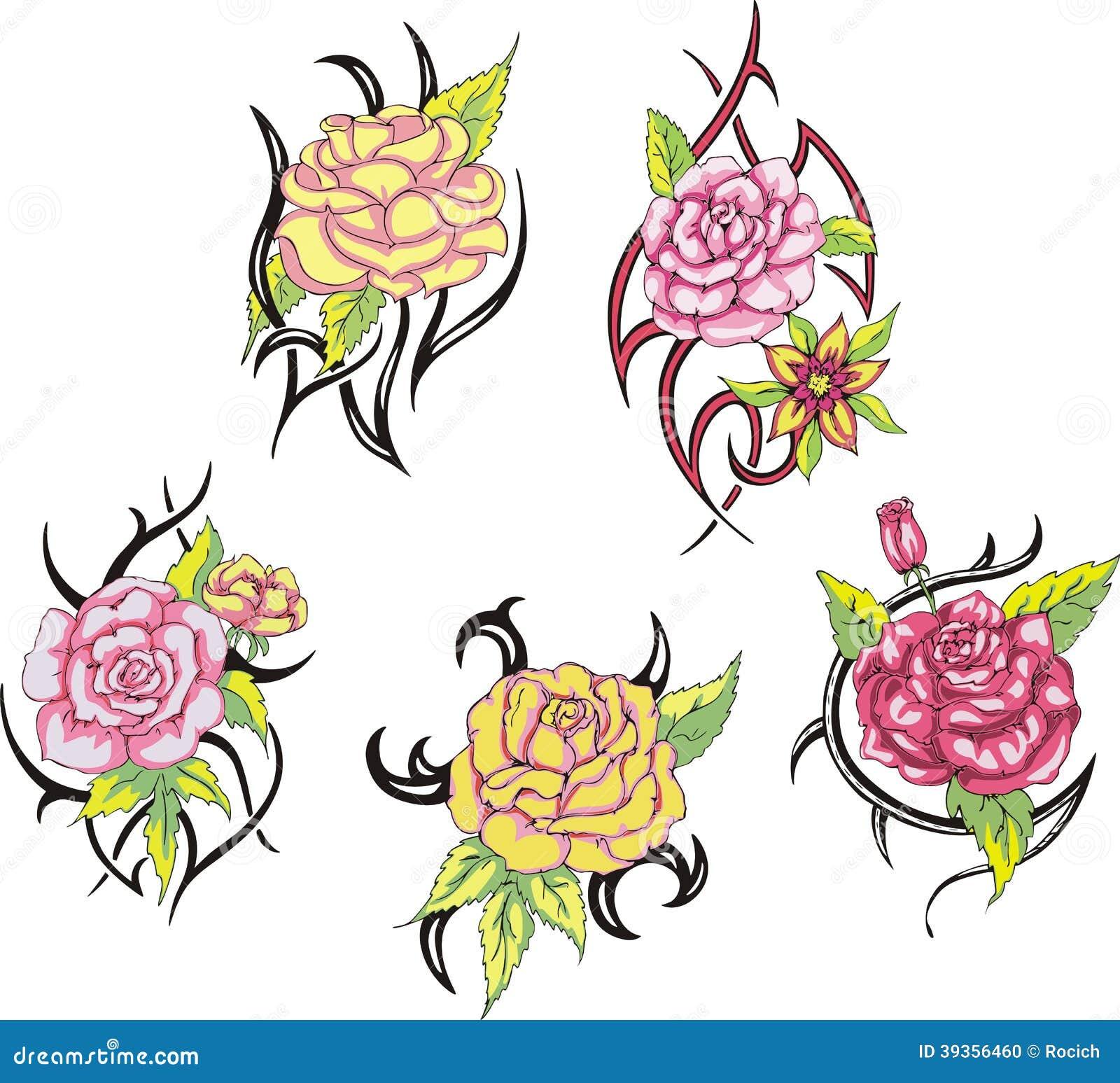 Grupo De Tatuagens Cor De Rosa Tribais Da Flor Ilustracao Do Vetor