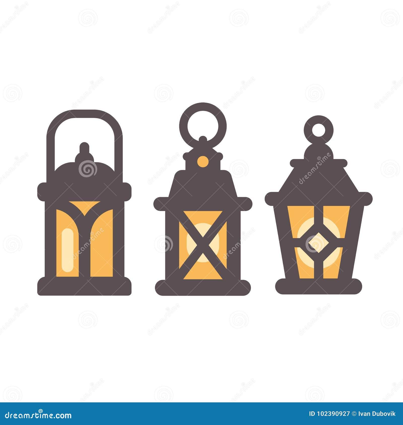 Grupo de três ícones lisos das lanternas rústicas velhas