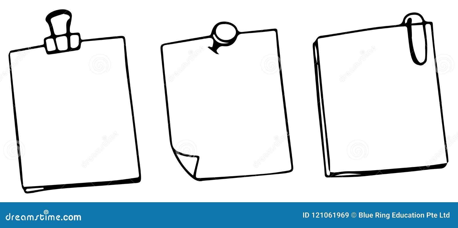 Grupo de três notas vazias do cargo