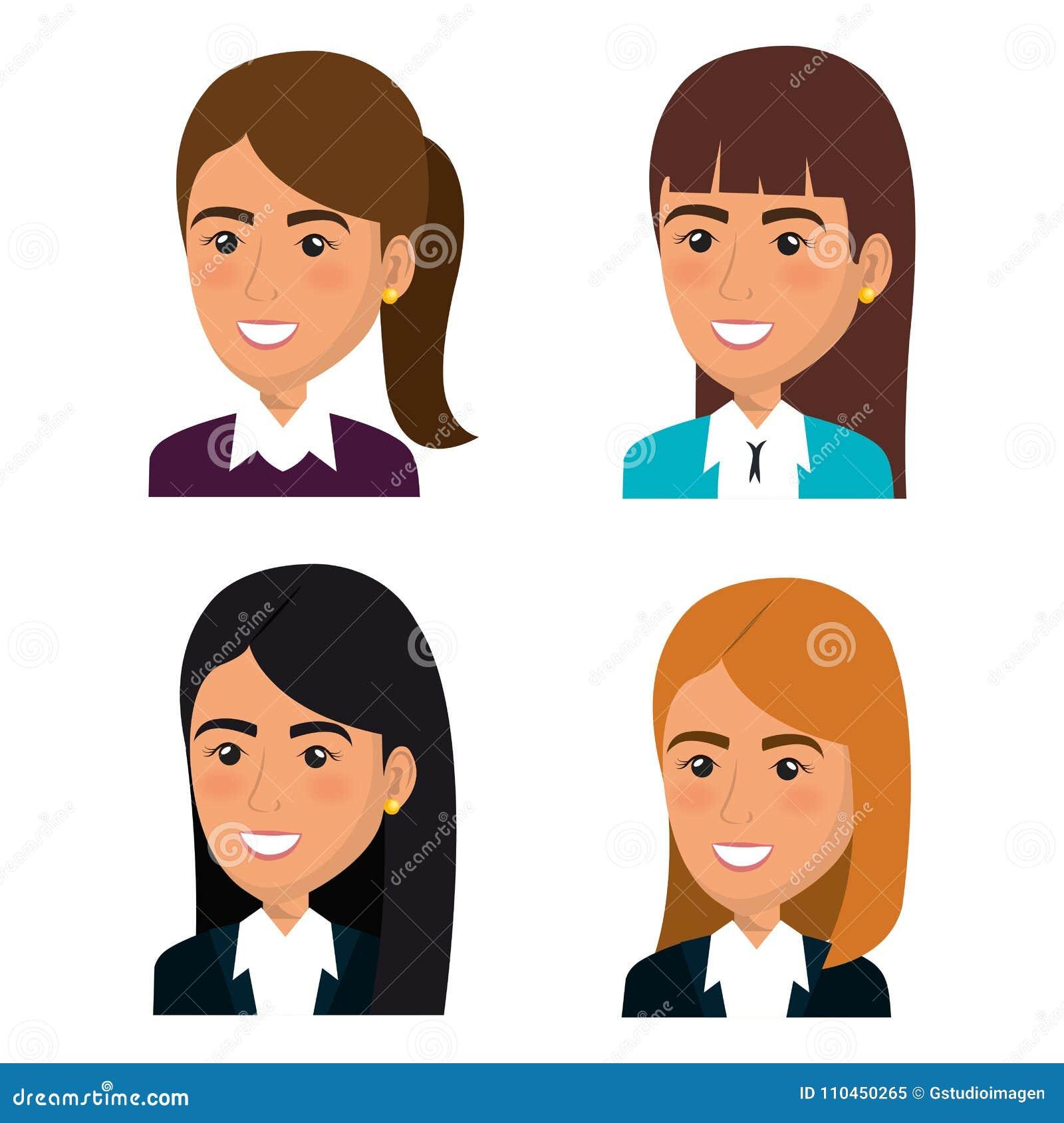 Grupo de trabalhos de equipa da mulher de negócios