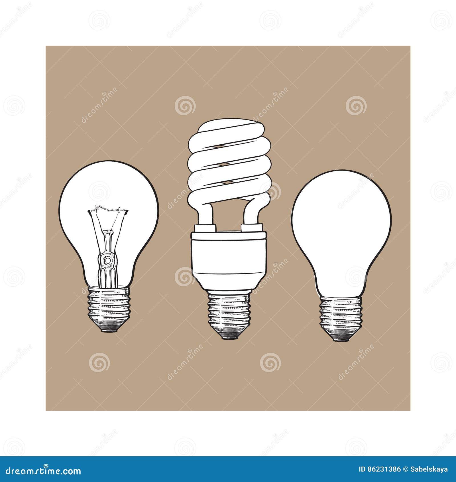 Grupo de transparente, de opaco, de incandescência e ampola de poupança de energia