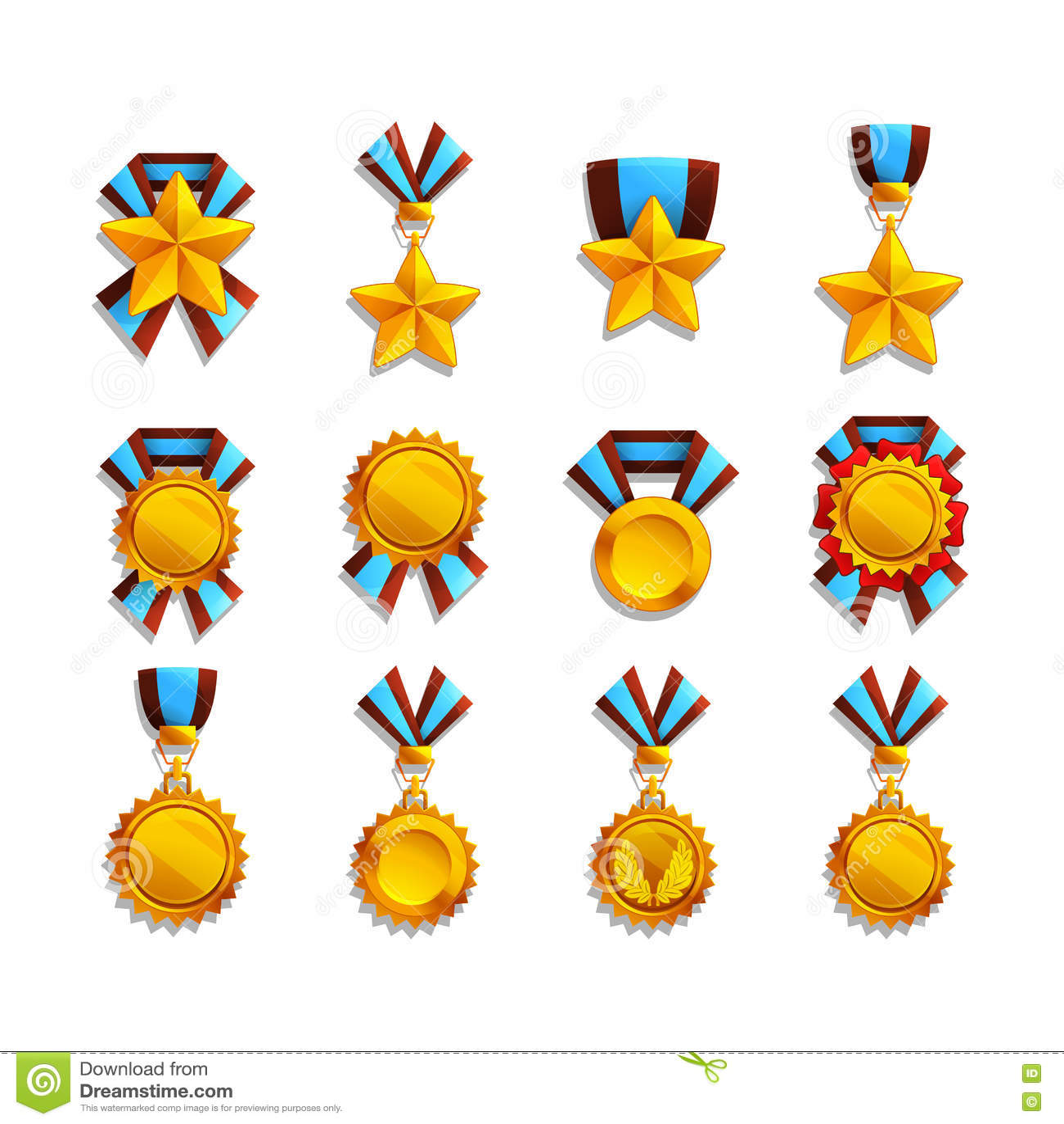 Grupo de troféu e de medalhas