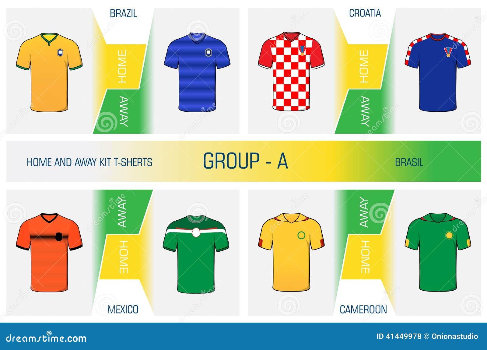 Grupo de uniforme do futebol dos nacionais - agrupe A