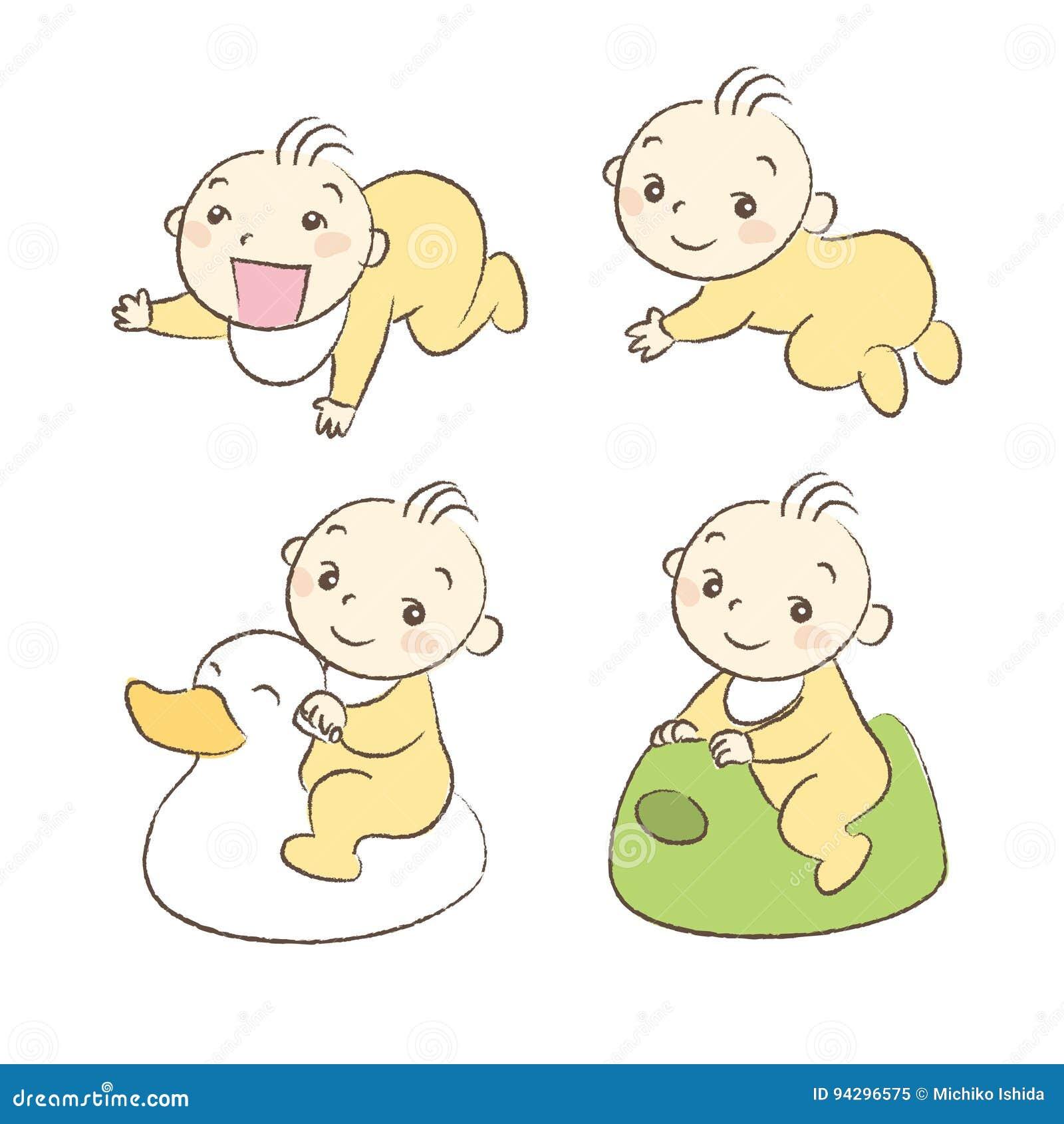 Grupo De Várias Poses E Expressão Dos Bebês Ilustração Do Vetor