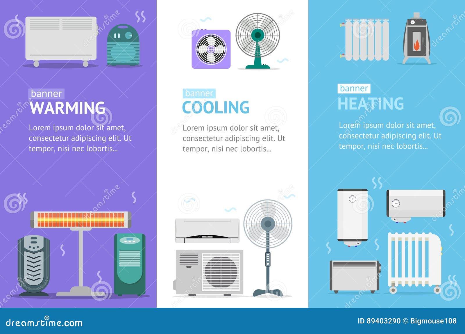 Grupo de Vecrtical do cartão da bandeira dos dispositivos aquecendo-se, refrigerar e aquecer-se Vetor