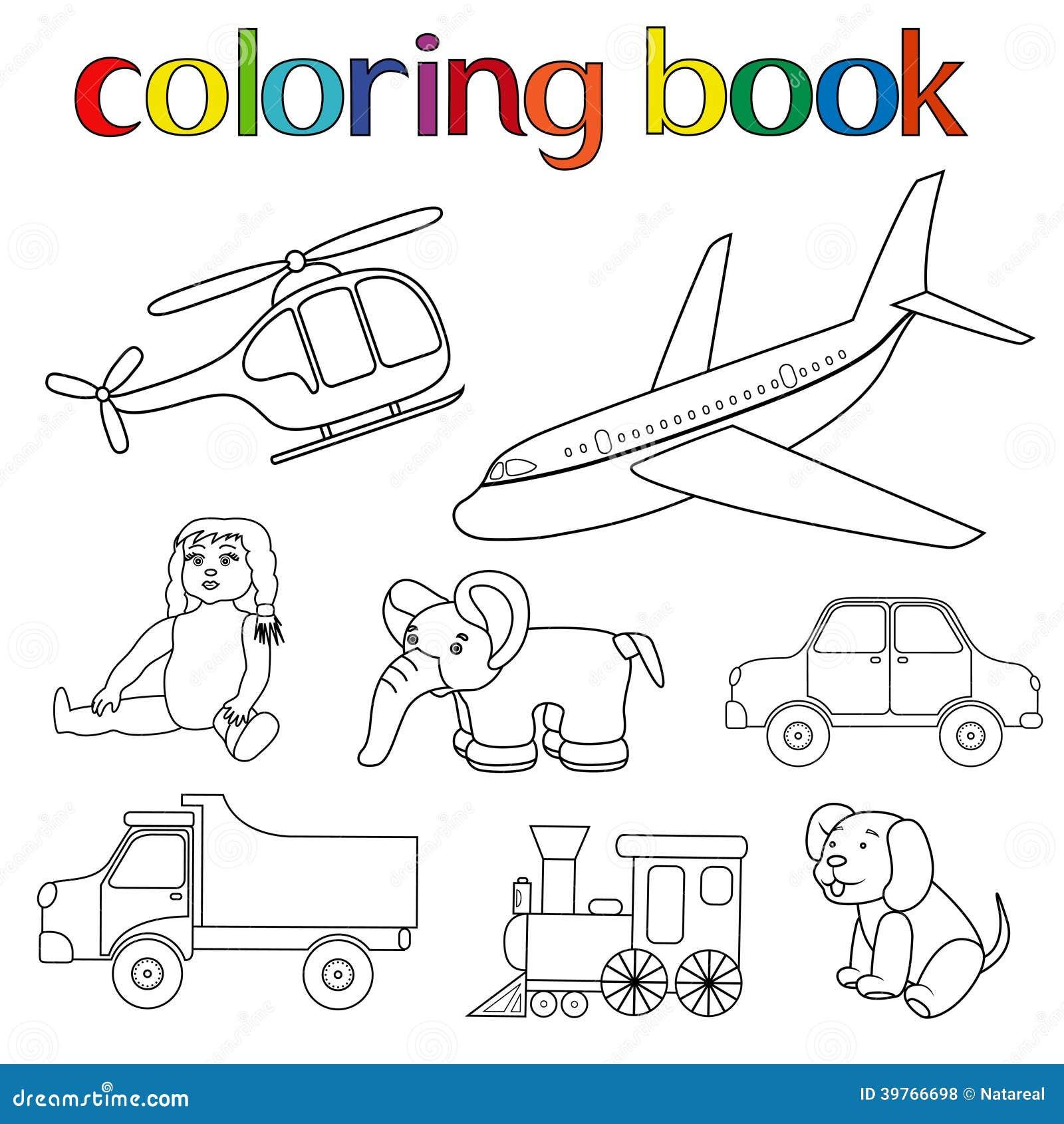 Grupo De Vrios Brinquedos Para O Livro Colorir Com Helicptero