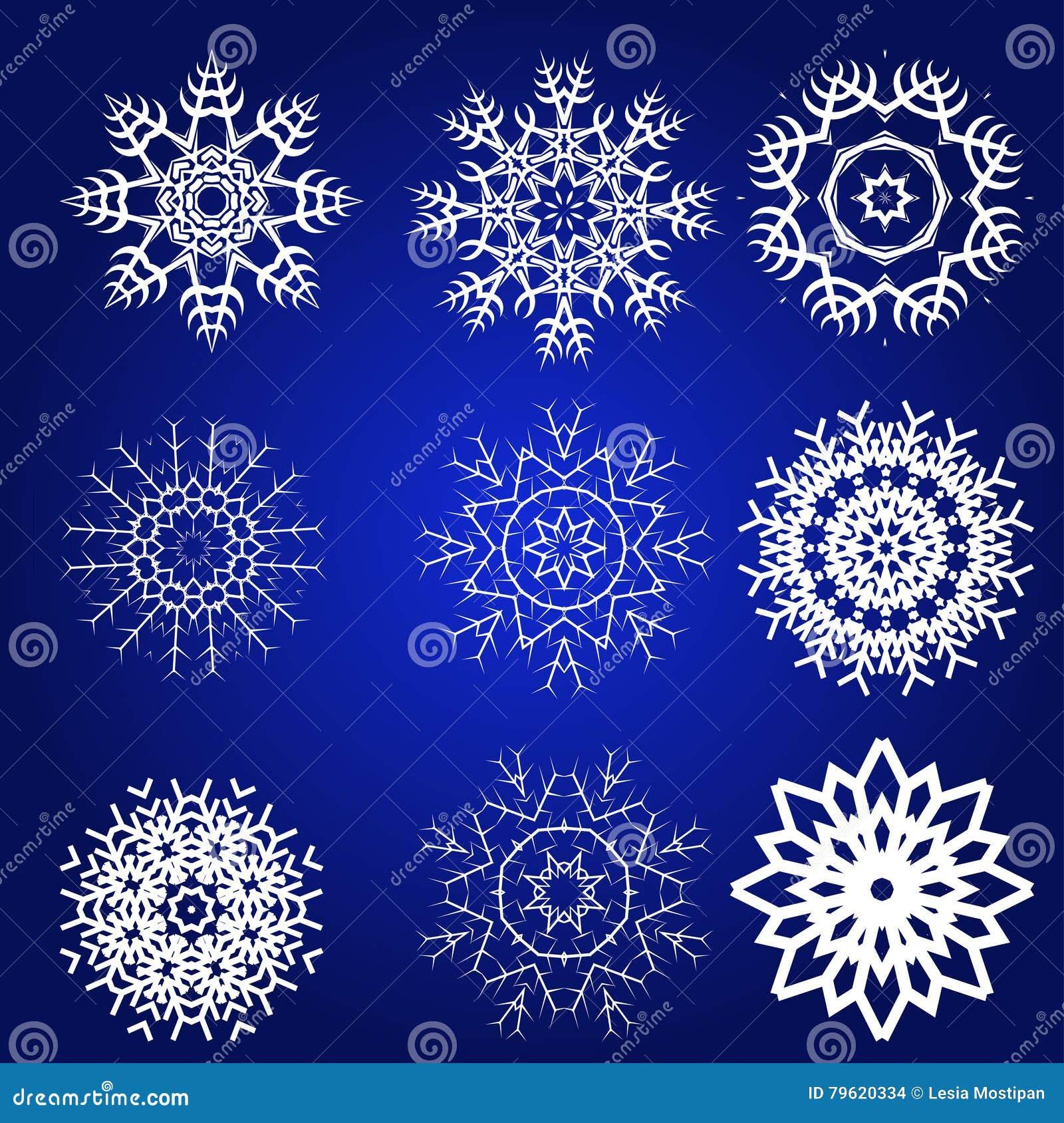 Grupo decorativo do vetor dos flocos de neve