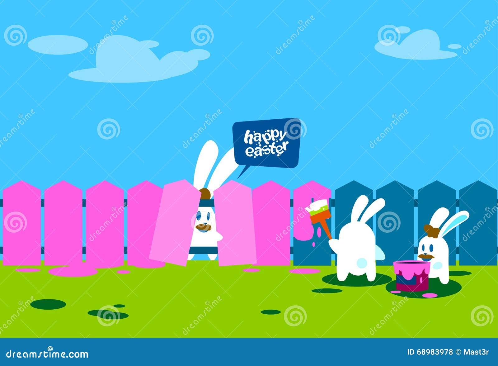 Grupo del conejo que se coloca en bandera feliz del día de fiesta de la pared de Pascua de la pintura del cepillo del control de