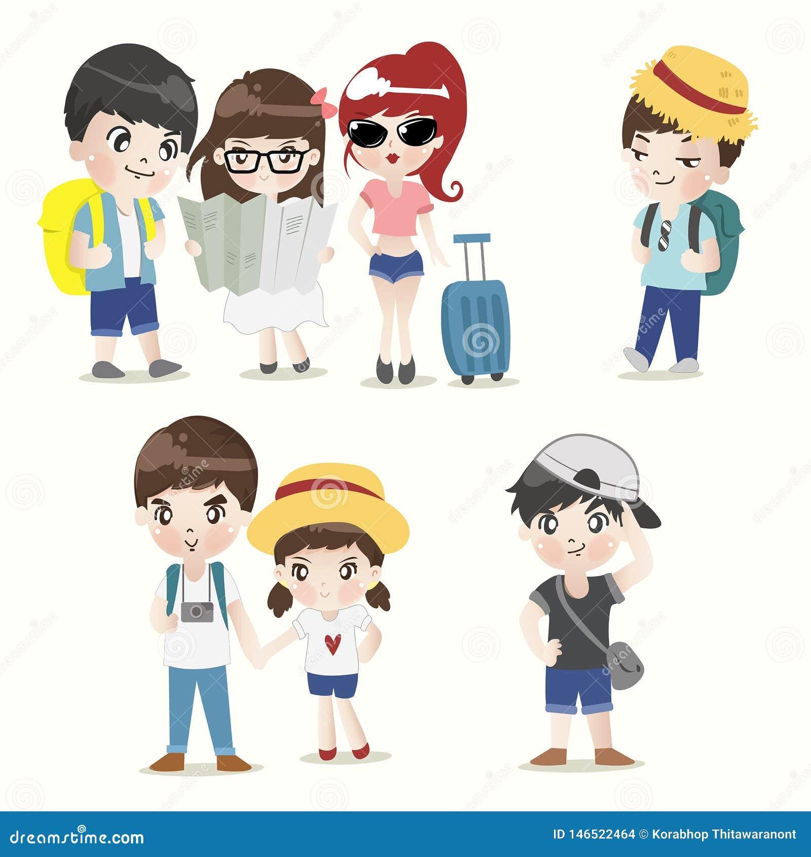 Grupo del muchacho y de la muchacha del Backpacker