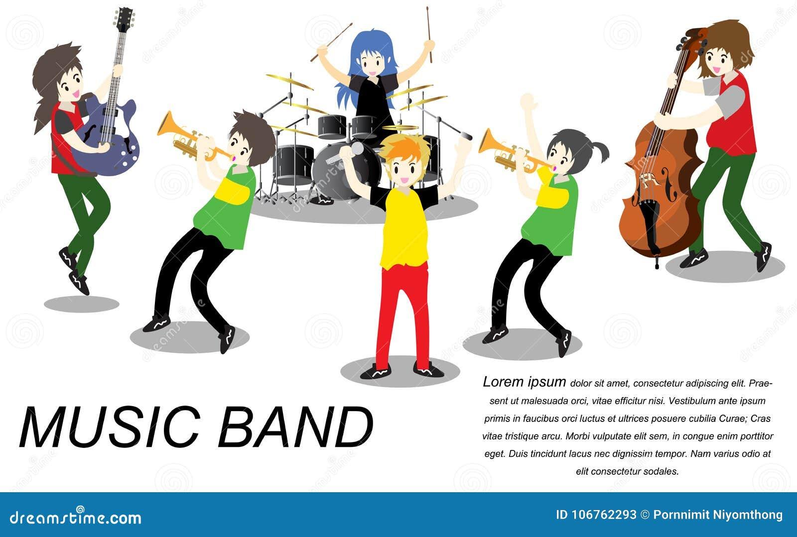 Grupo del reggae del ska de los músicos, guitarra del juego, cantante, guitarrista, batería, guitarrista a solas, bajista, banda