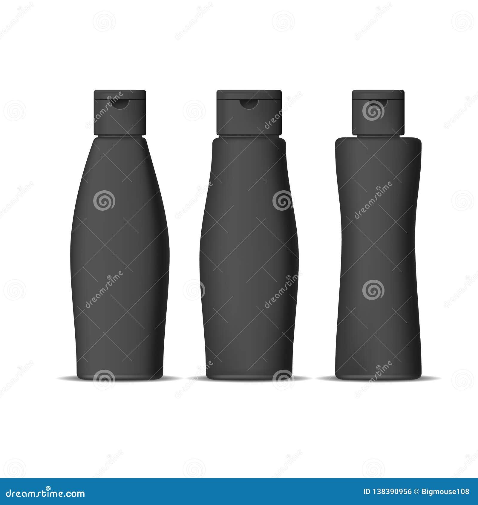 Grupo detalhado realístico das garrafas do champô do preto 3d Vetor