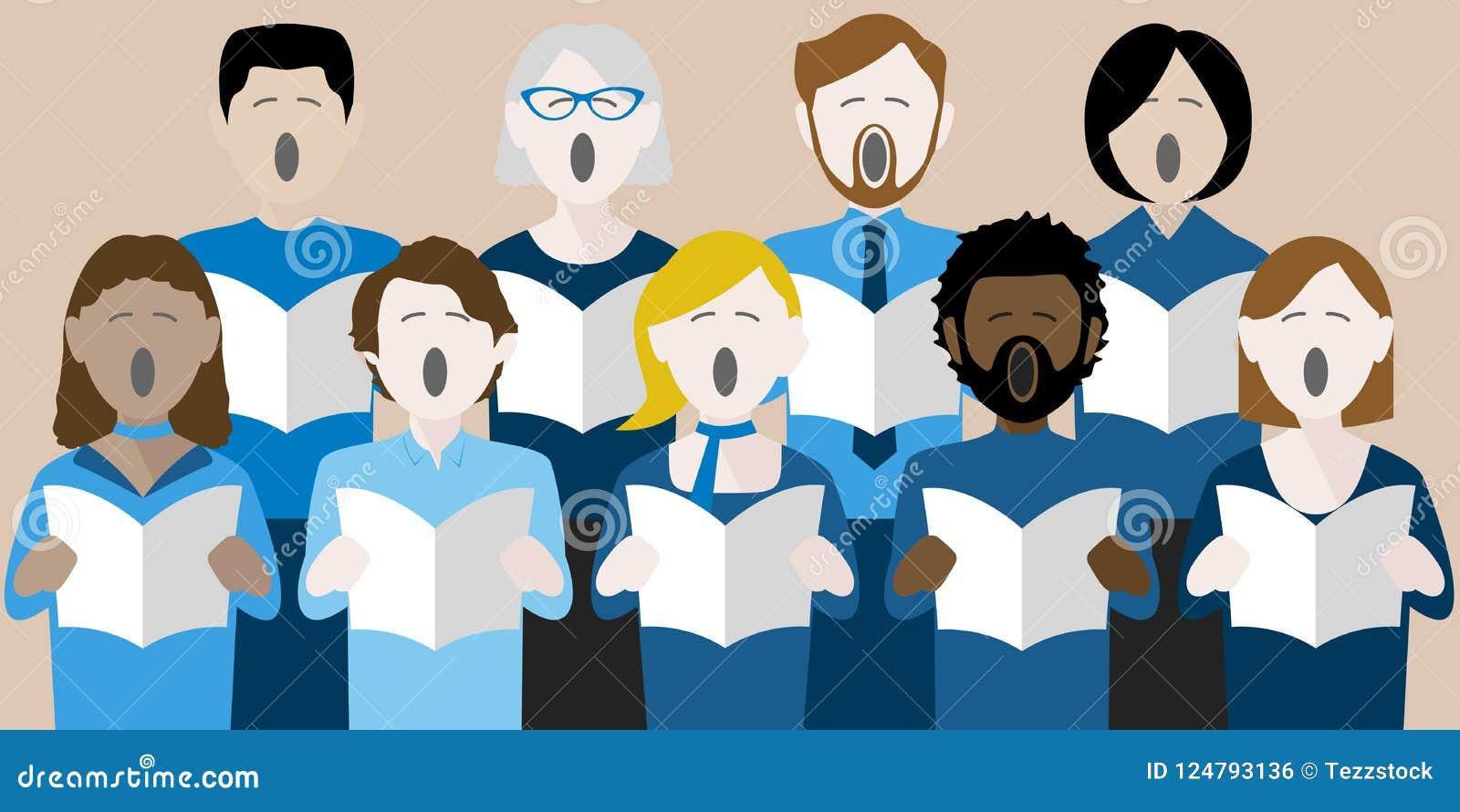 Grupo diverso de cantantes adultos del coro
