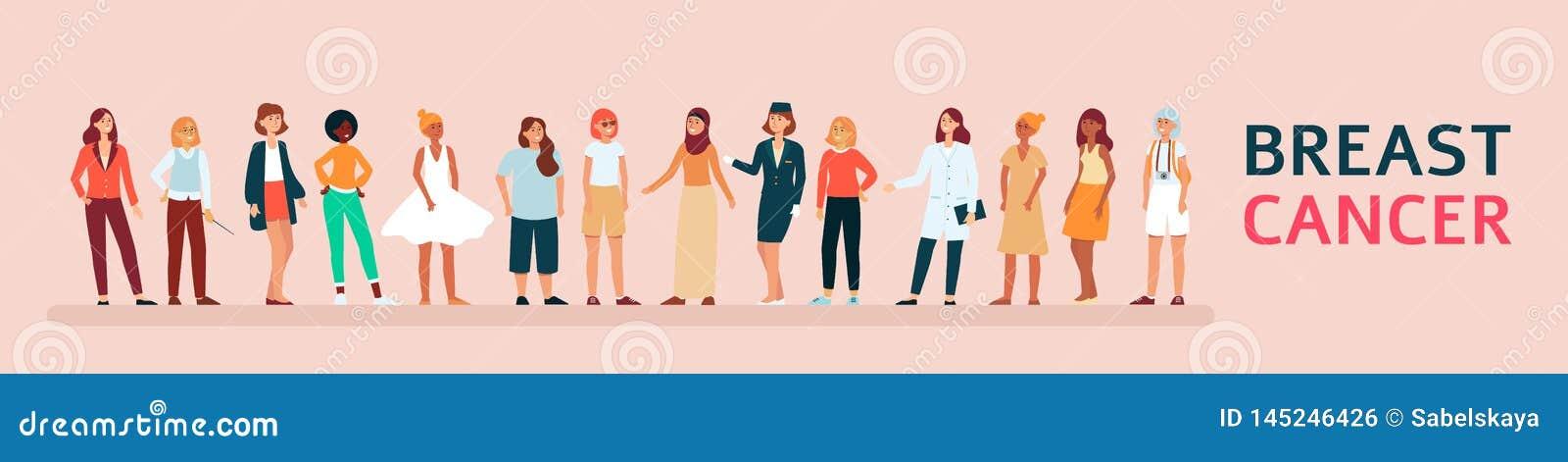 Grupo diverso de conscientização de apoio do câncer da mama da mulher