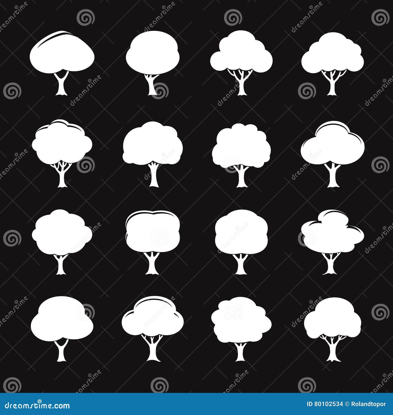 Grupo do ícone branco da árvore Ilustração do vetor