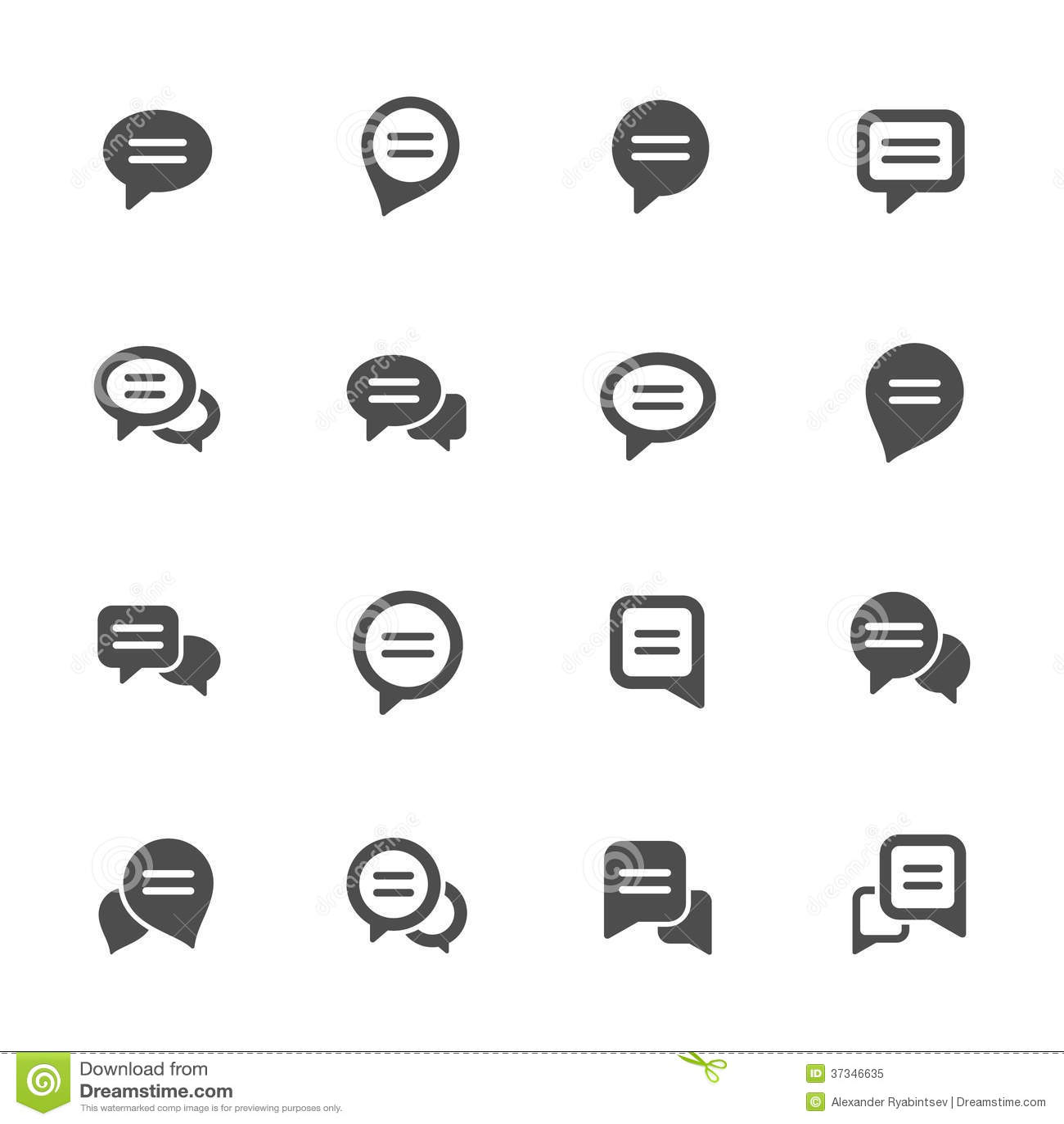Grupo do ícone da bolha do discurso