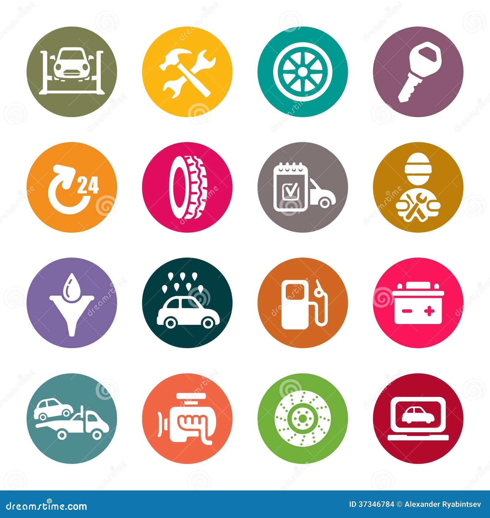 Grupo do ícone da manutenção do serviço do carro