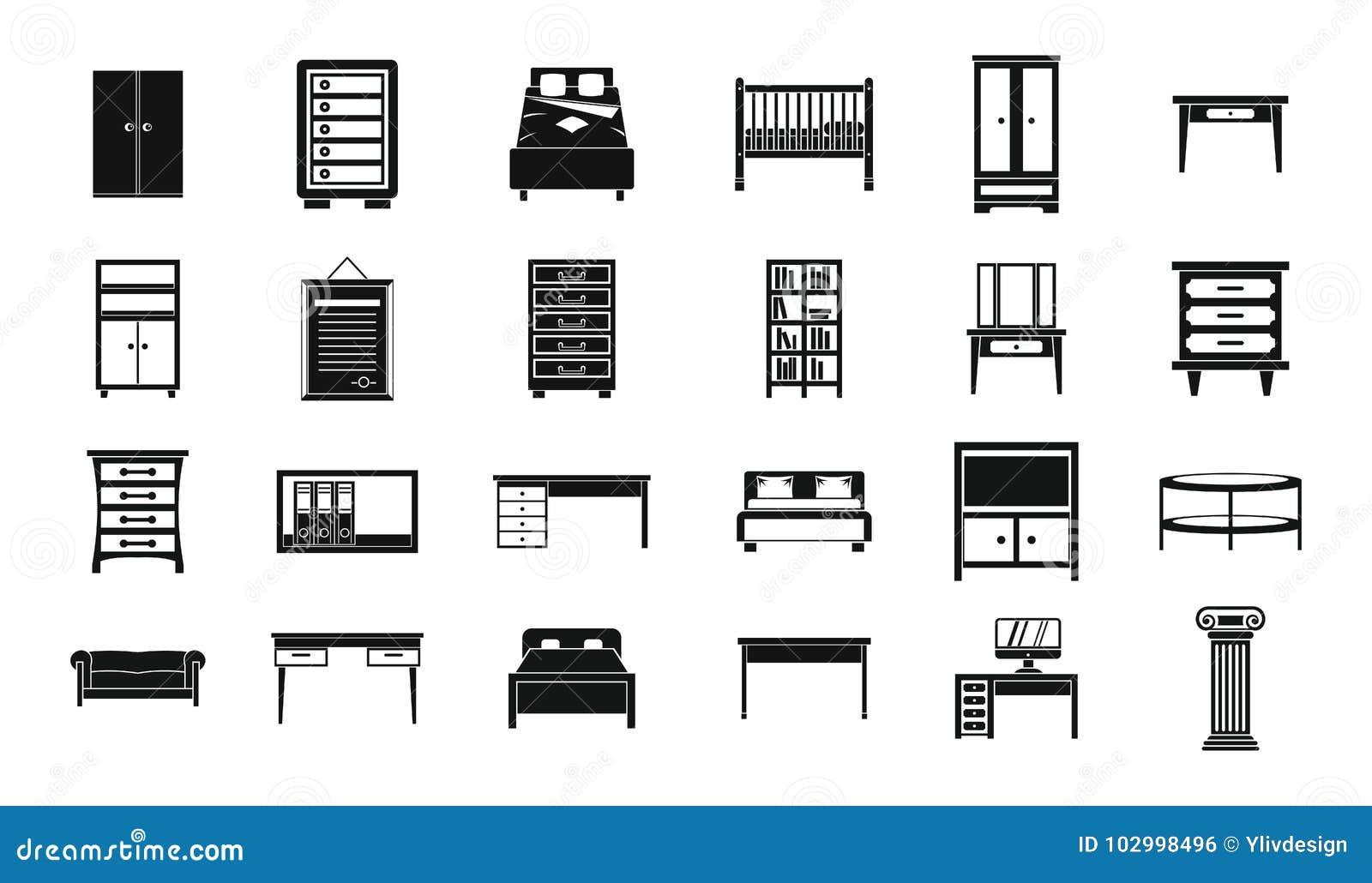 Grupo do ícone da mobília, estilo simples