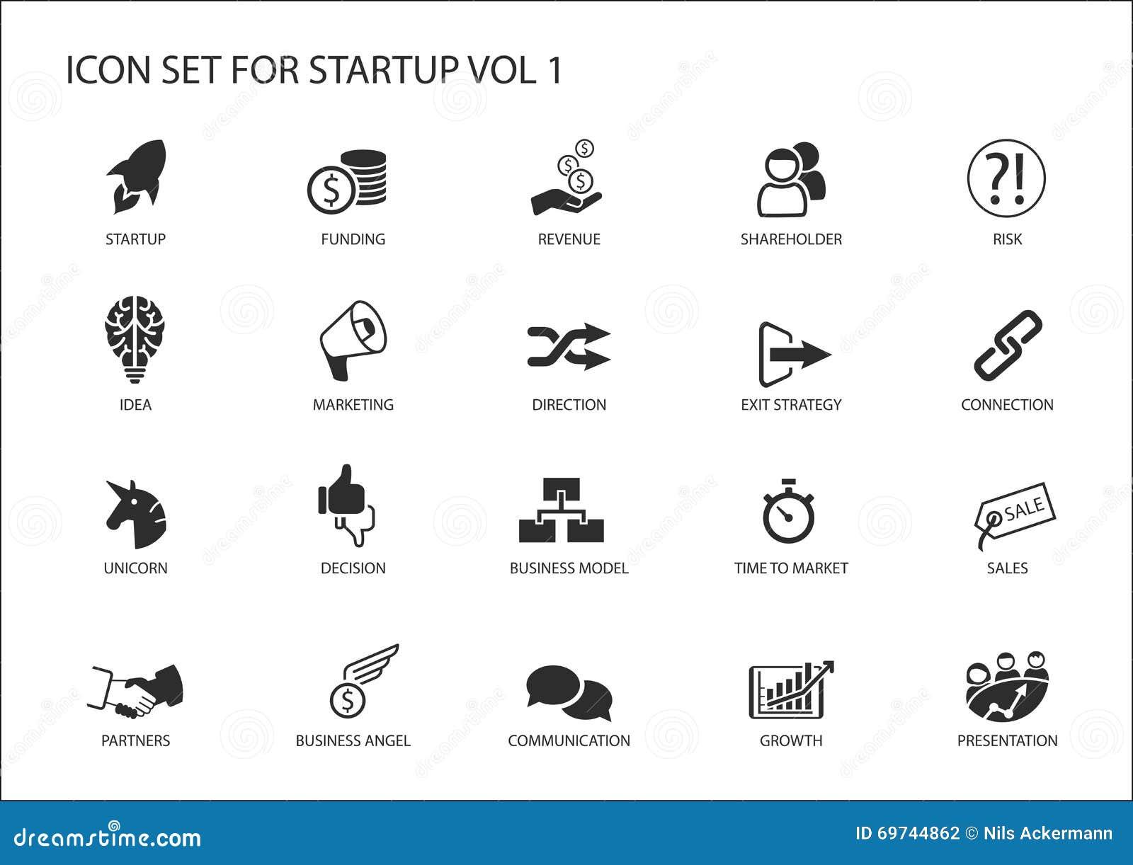 Grupo do ícone da partida de negócio Símbolos do vetor para várias situações de negócio