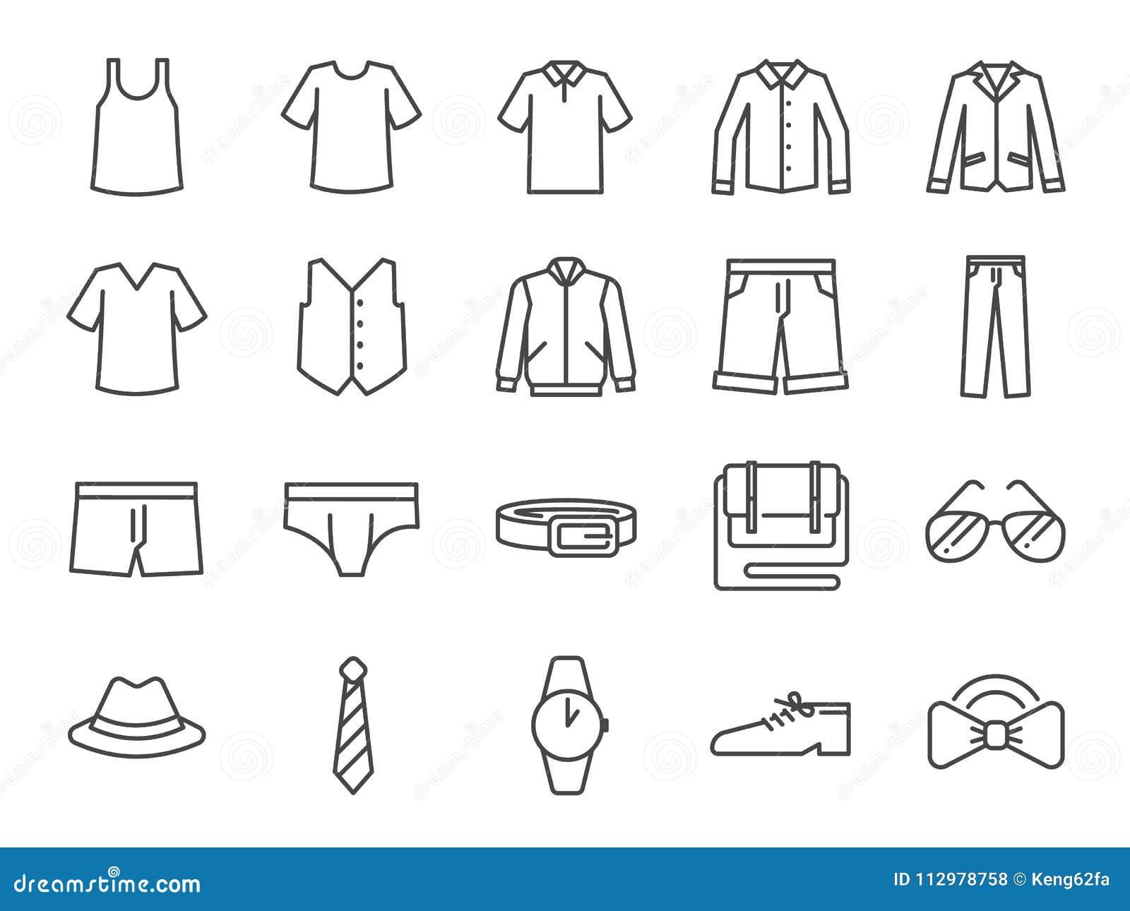 Grupo do ícone da roupa dos homens Incluiu os ícones como short, workwear, forma, brim, camisa, calças, acessórios e mais