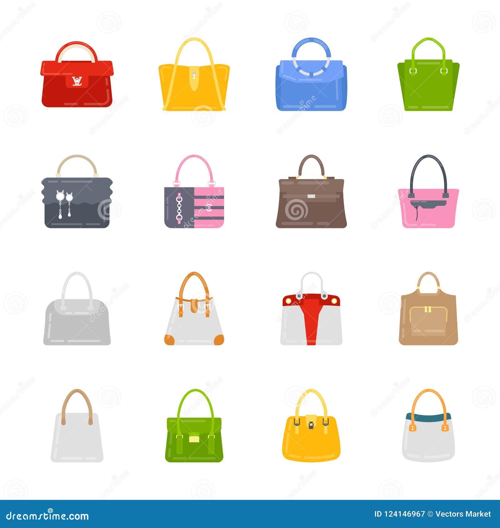 Grupo do ícone das bolsas das senhoras