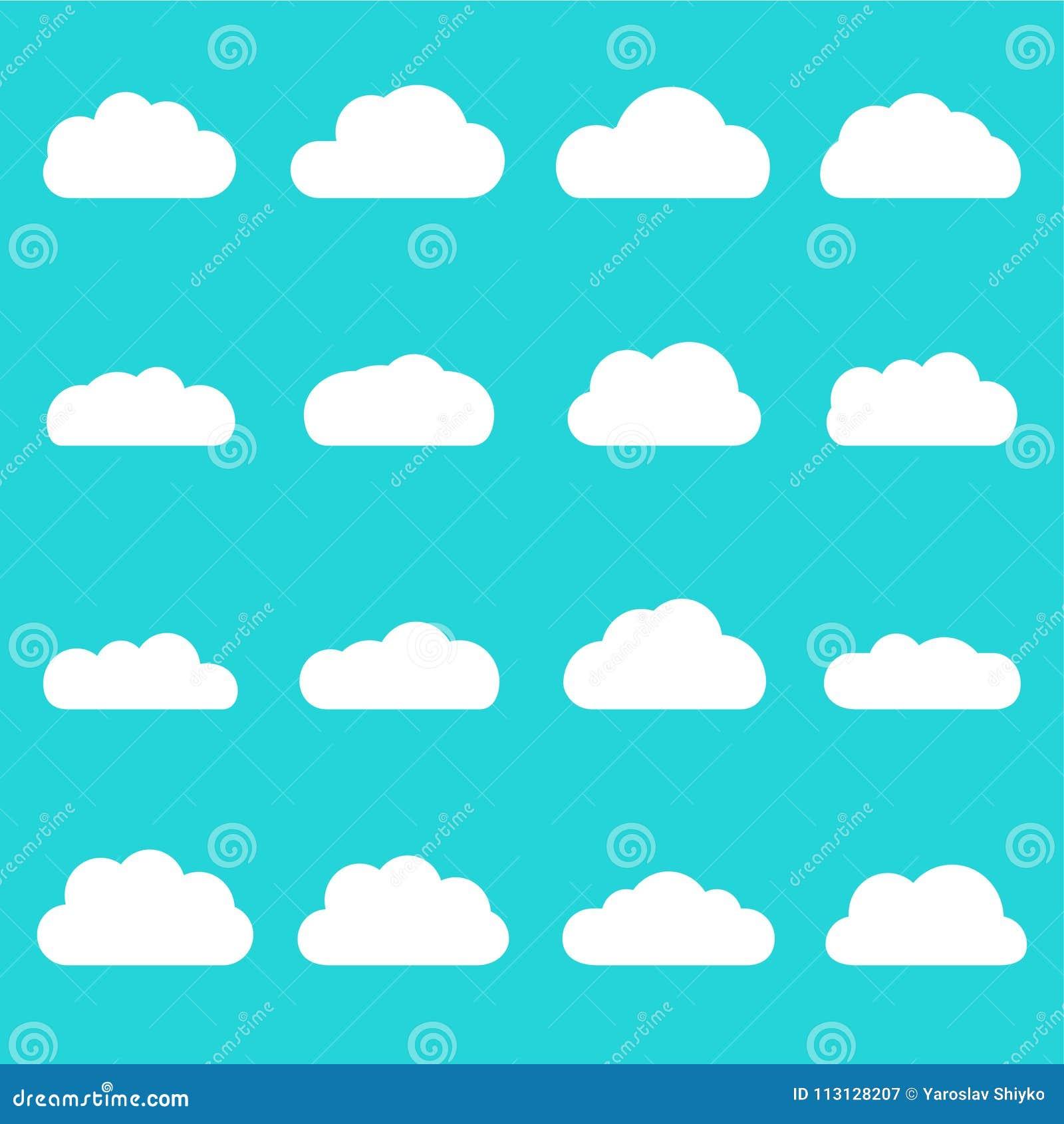 Grupo Do Icone Das Nuvens Formas Diferentes Da Nuvem Isoladas No