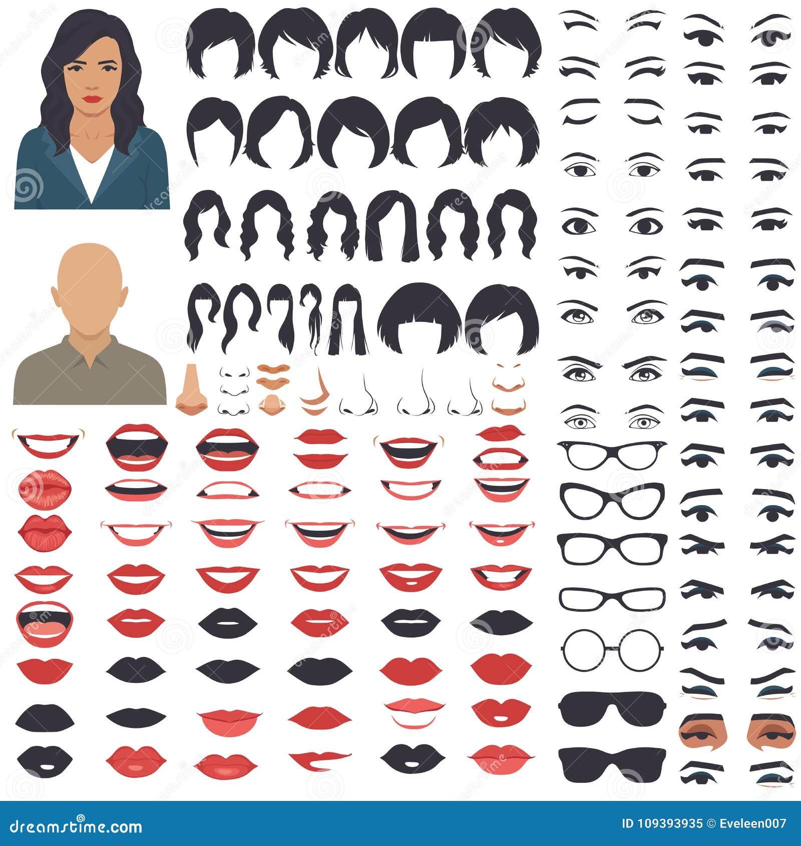 Grupo do ícone das peças da cara da mulher, da cabeça do caráter, dos olhos, da boca, dos bordos, do cabelo e da sobrancelha