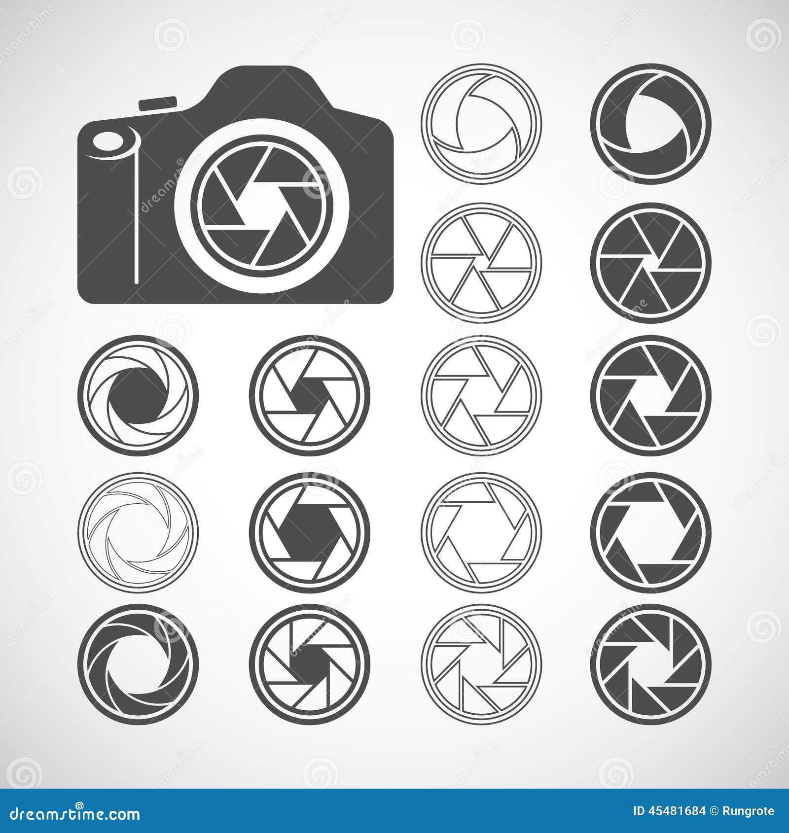 Grupo Do ícone Do Obturador Da Câmera Vetor Eps10 Ilustração Do