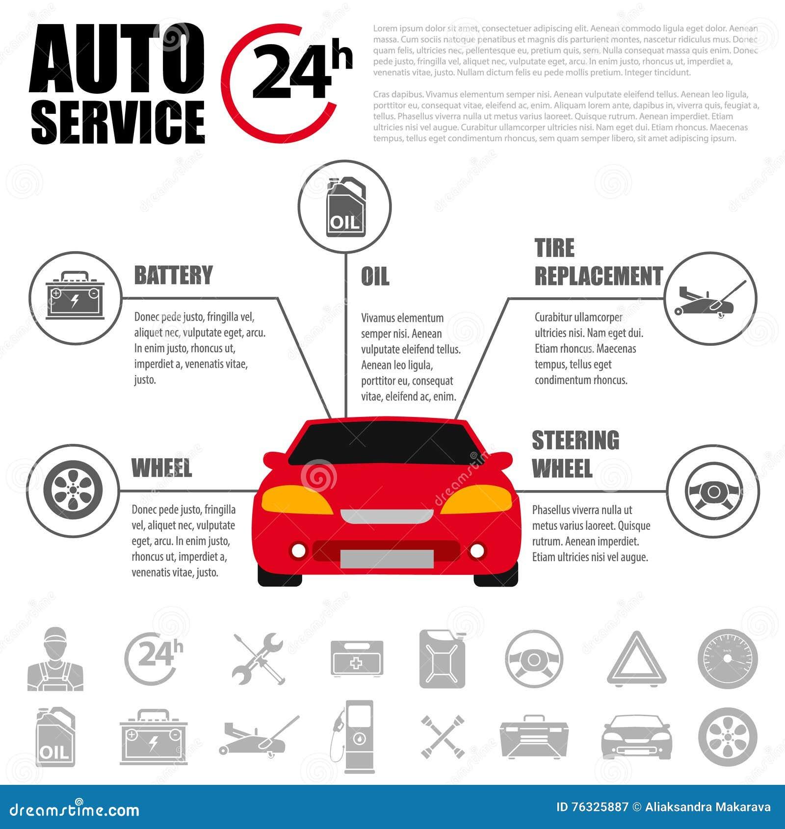 Grupo do ícone do plano de serviço do carro Ícones do plano de serviço do auto mecânico do reparo e do trabalho do carro da manut