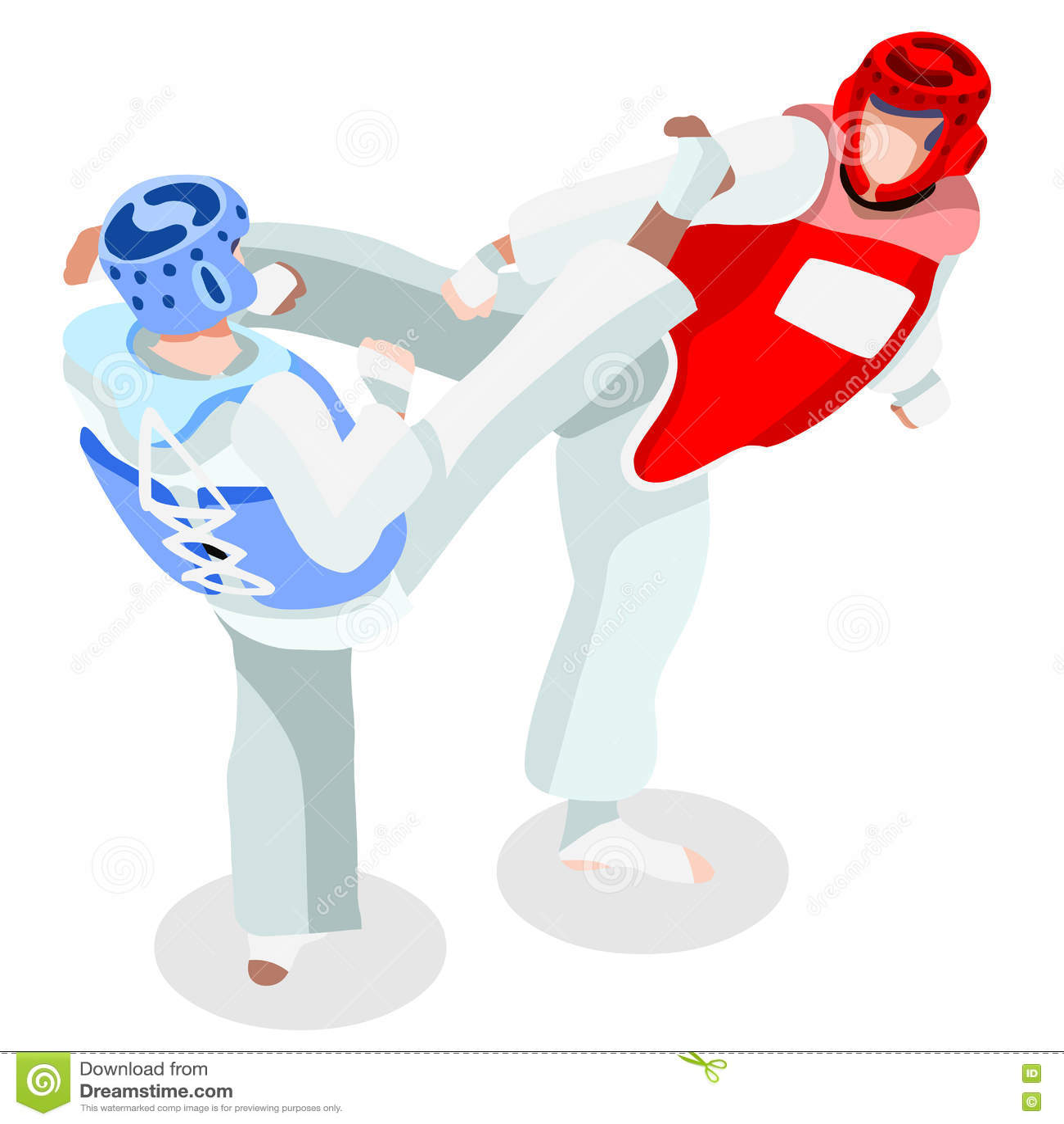 ffd623072 Grupo do ícone dos jogos do verão de Taekwondo atleta 3D isométrico  Olympics que ostentam o
