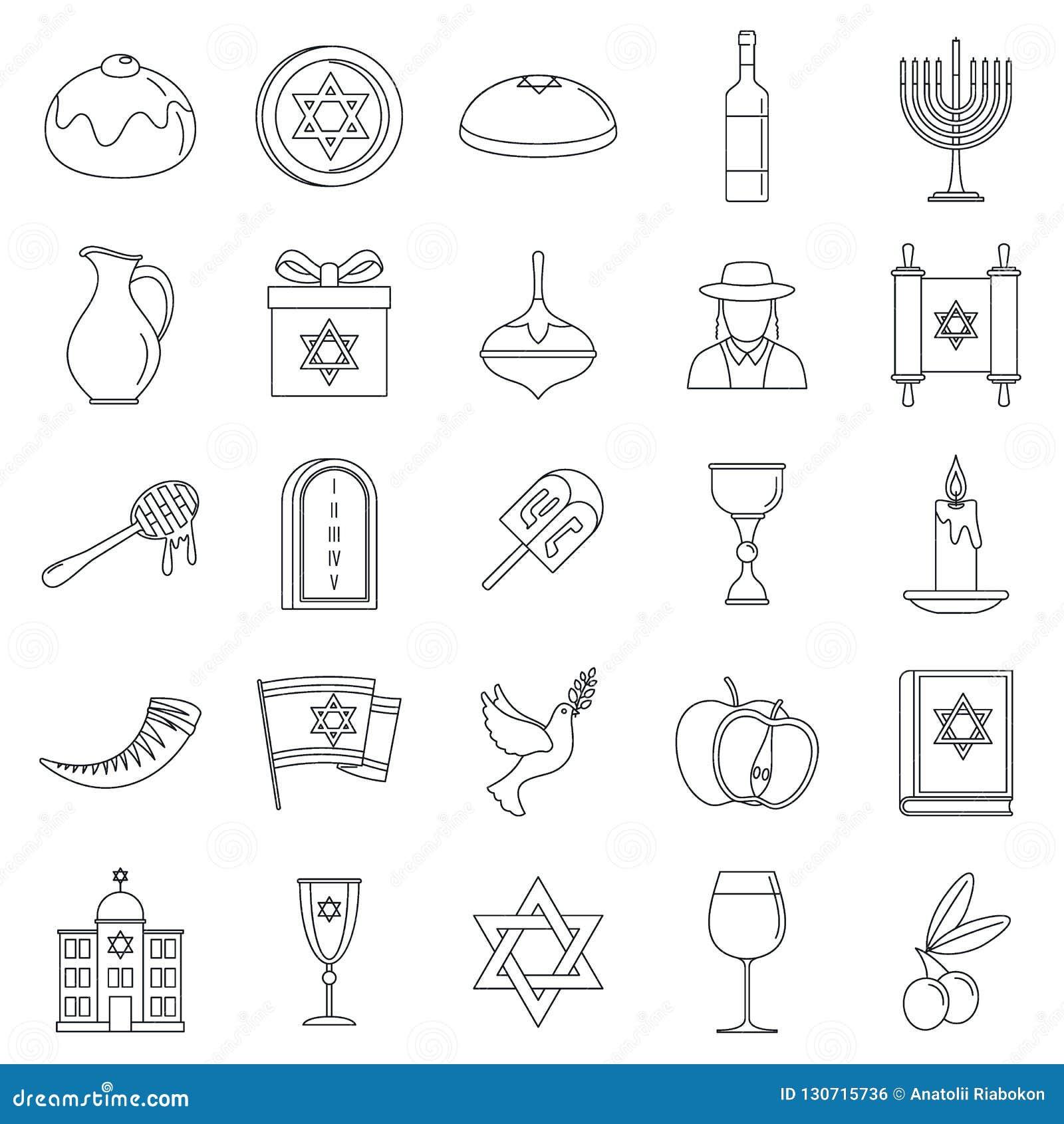 Grupo do ícone do feriado do Hanukkah, estilo do esboço