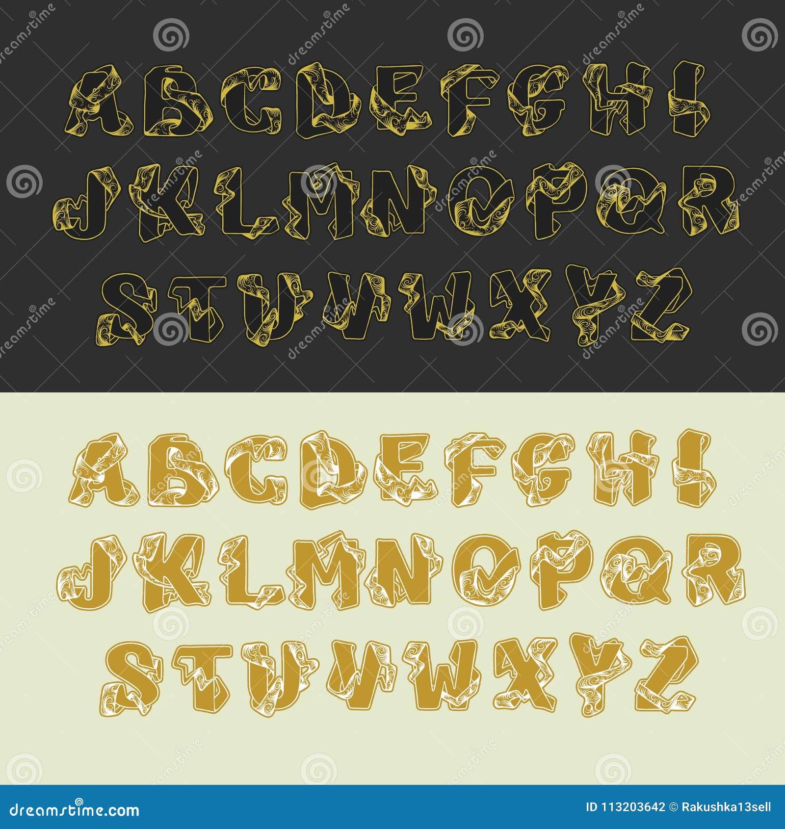 Grupo do alfabeto do vetor do ouro de letras de caixa Letra elegante ABC do esboço decorativo do vintage Fonte de bloqueio