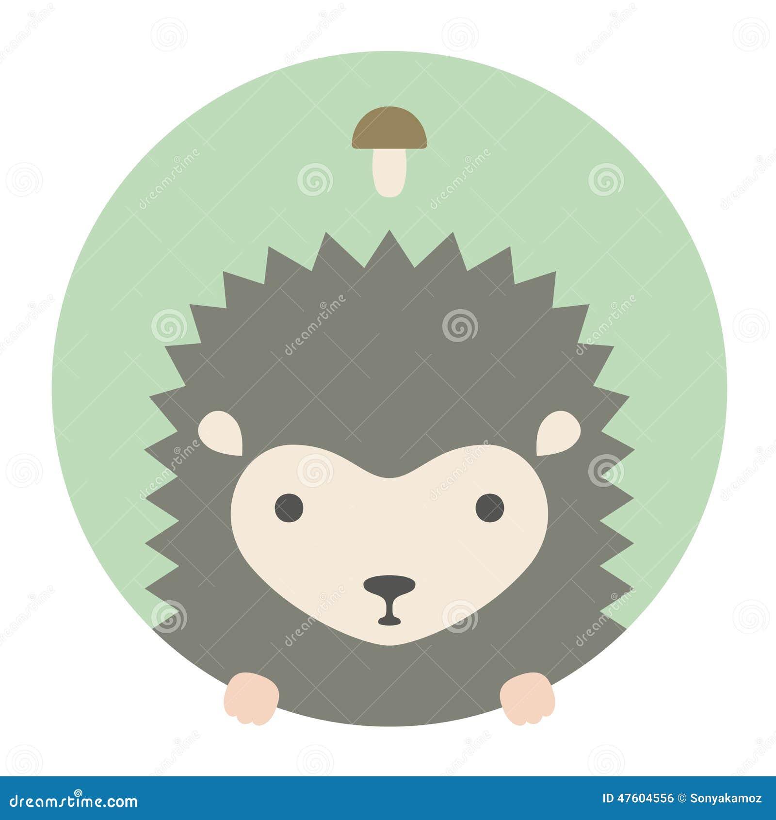 Grupo do animal Retrato em gráficos lisos hedgehog
