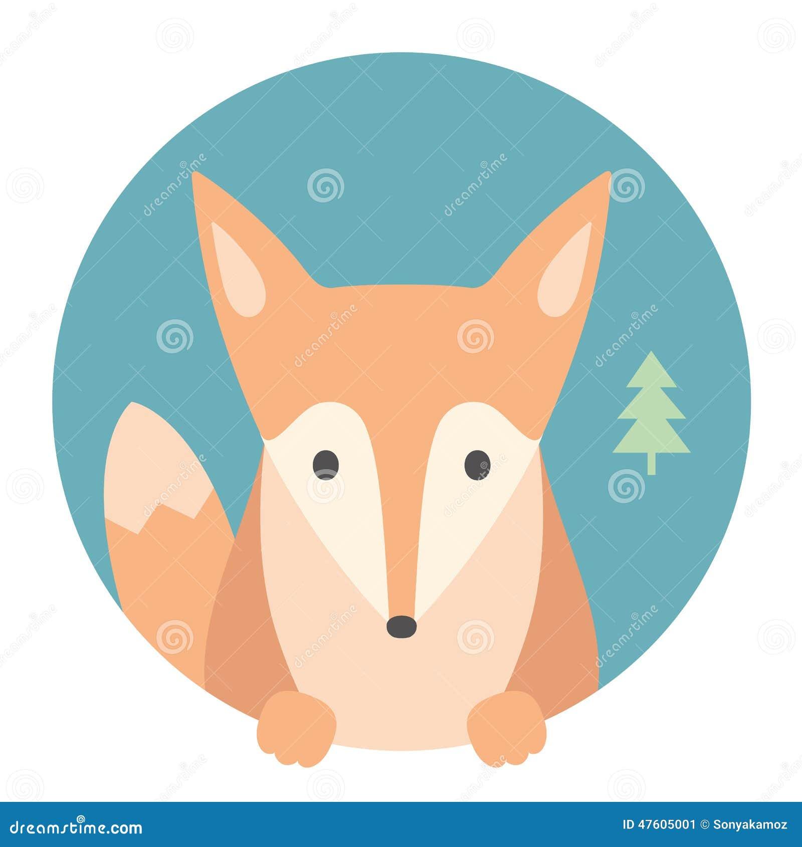 Grupo do animal Retrato em gráficos lisos raposa
