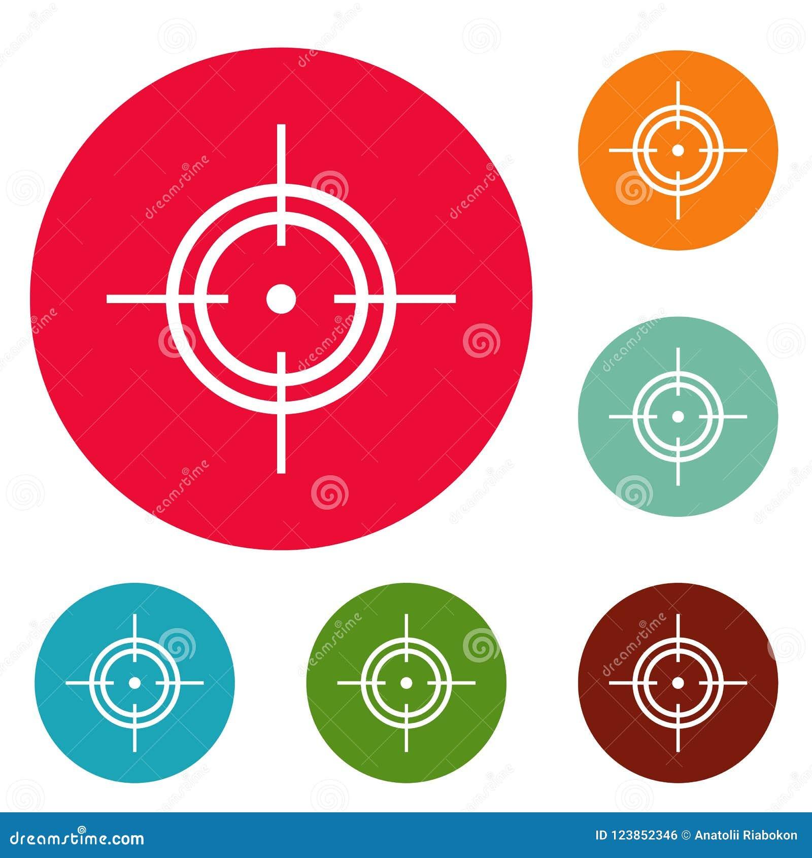 Grupo do círculo dos ícones do alvo