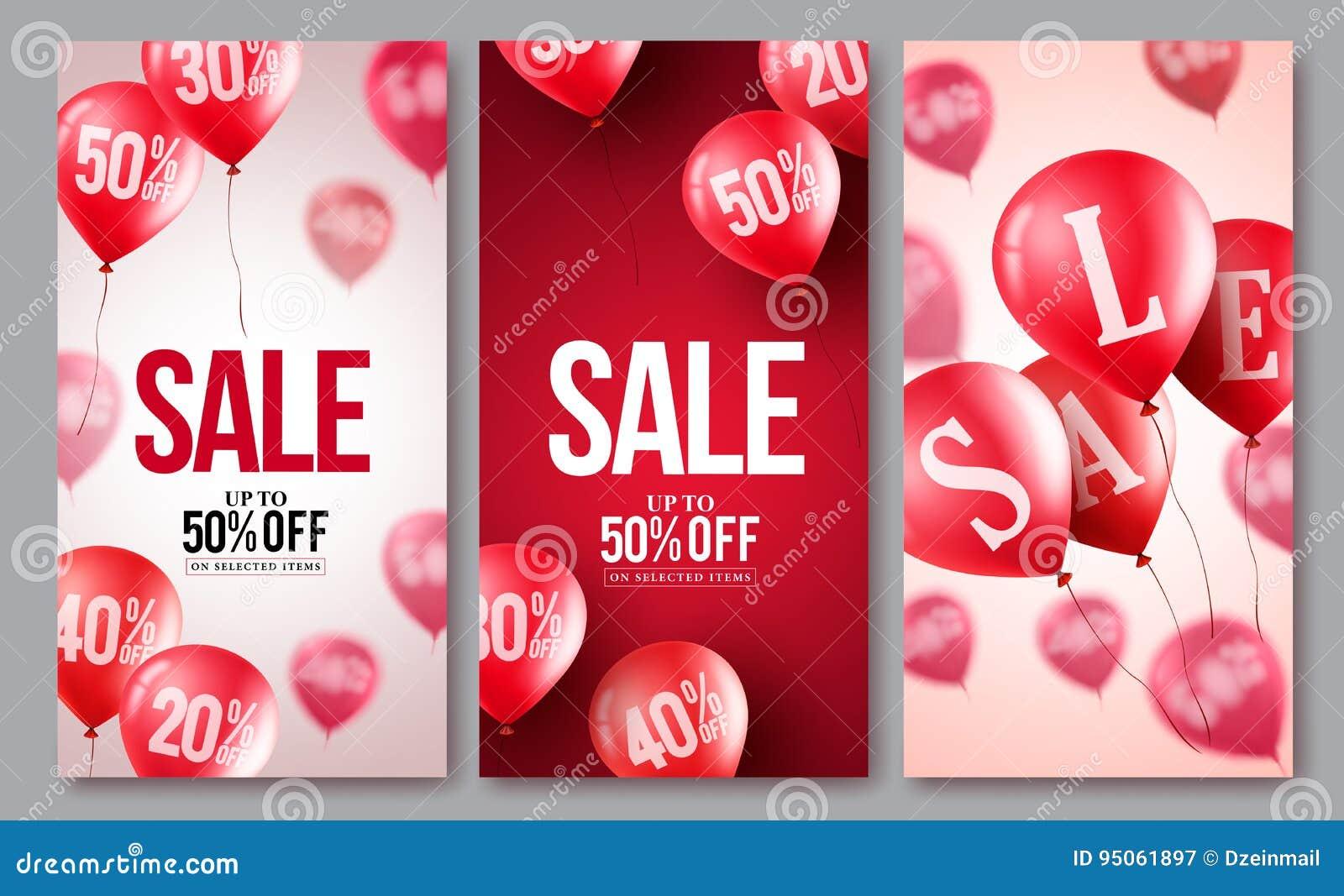 Grupo do cartaz dos balões do vetor da venda As coleções do voo balloons com 50 por cento fora
